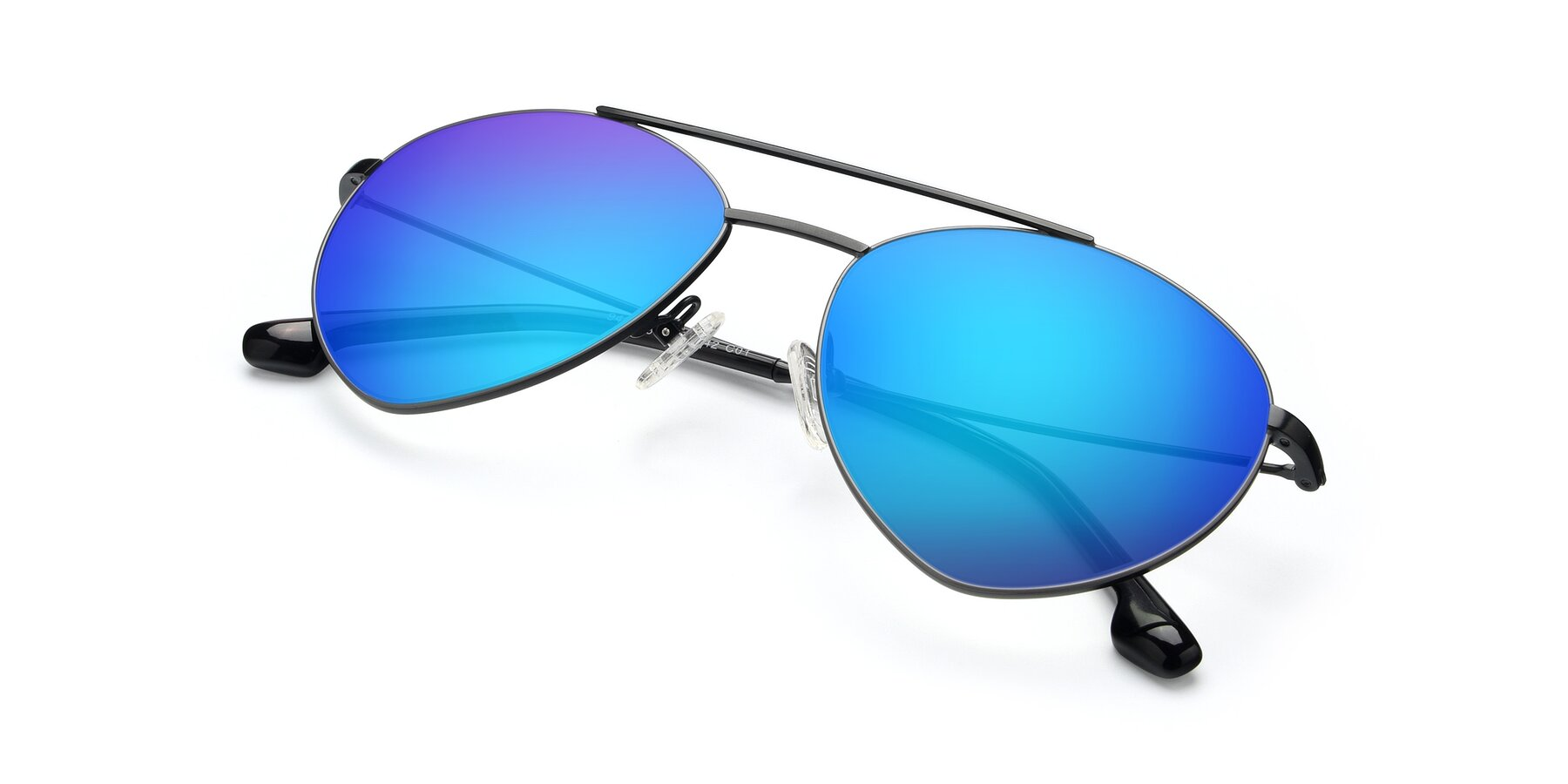 View of 9459 in Matte Black-Grey with Blue Mirrored Lenses