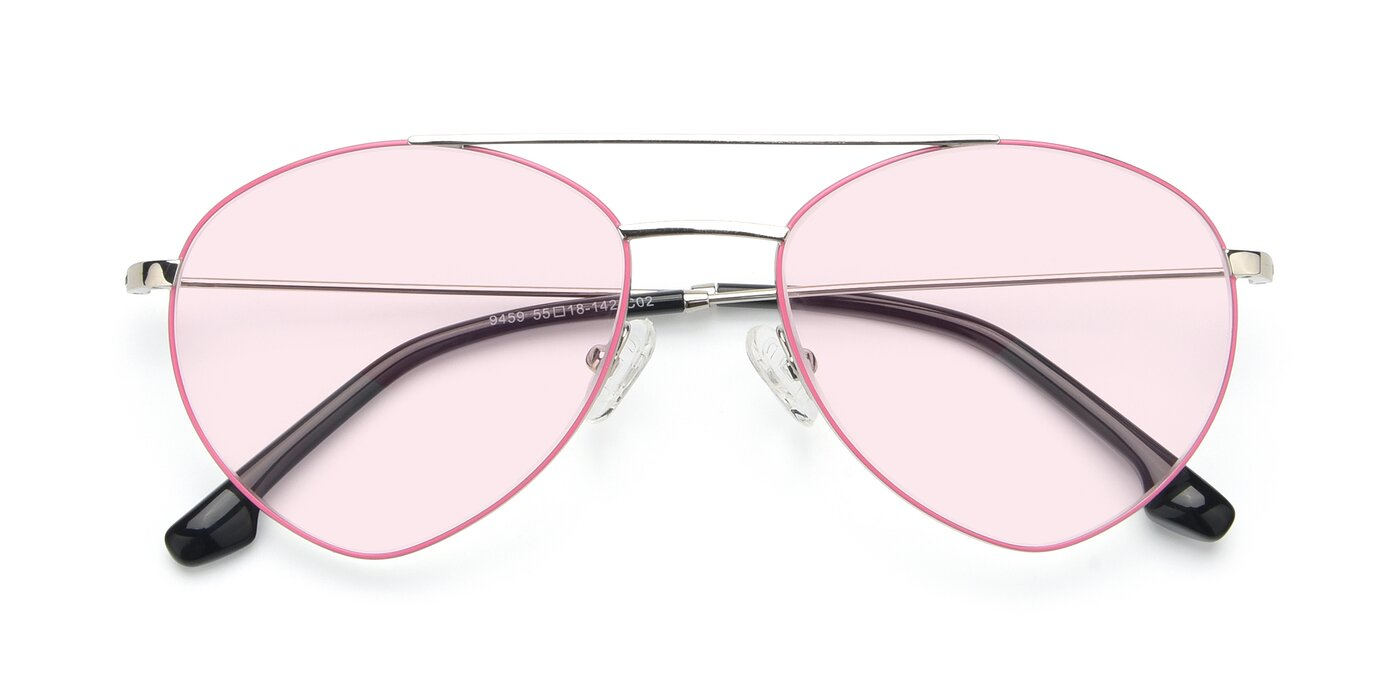 9459 - Silver / Pink Tinted Sunglasses