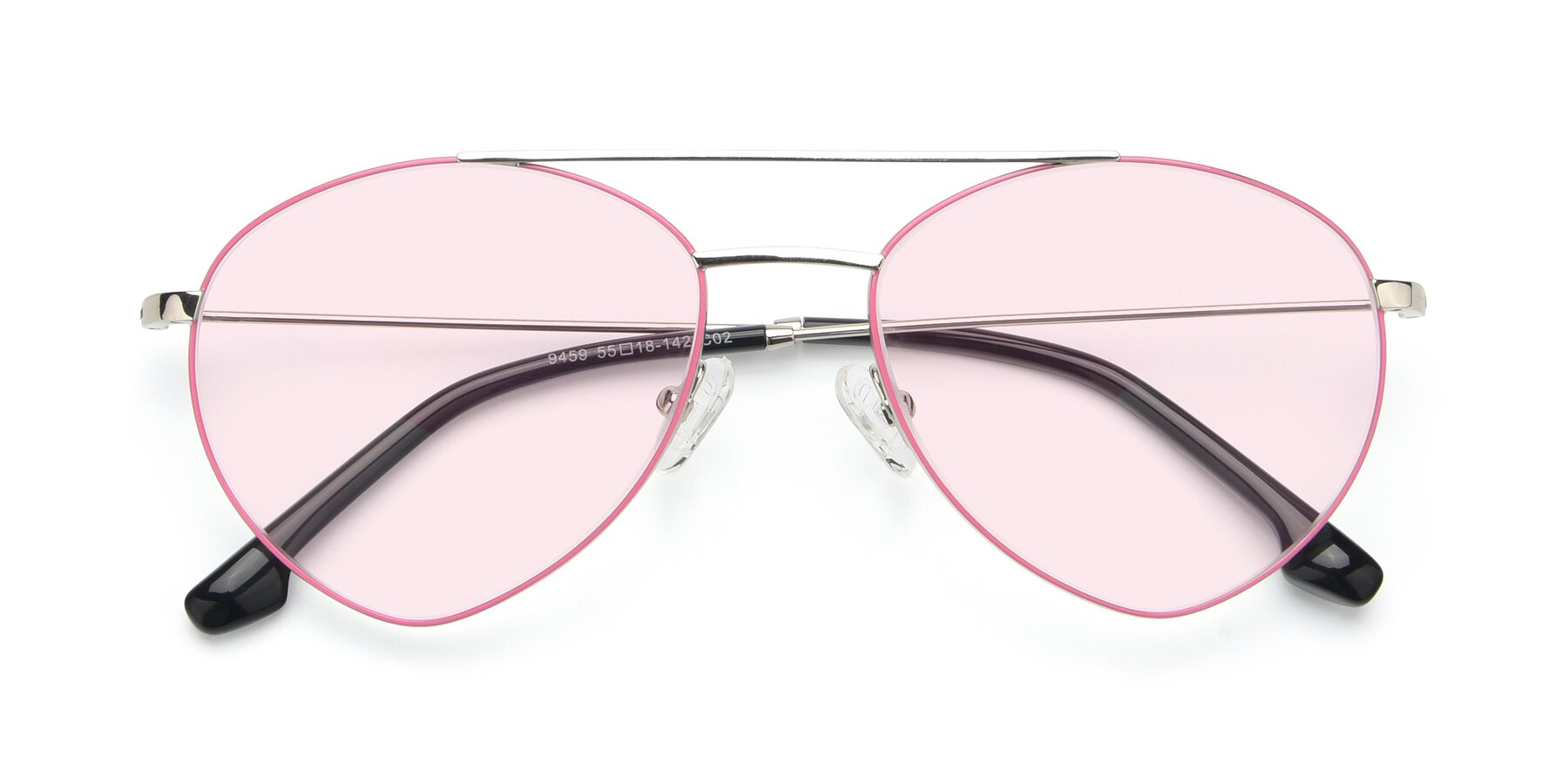 Folded Front of 9459 in Silver-Pink with Light Pink Tinted Lenses