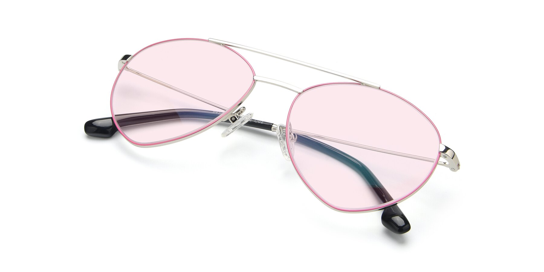 View of 9459 in Silver-Pink with Light Pink Tinted Lenses