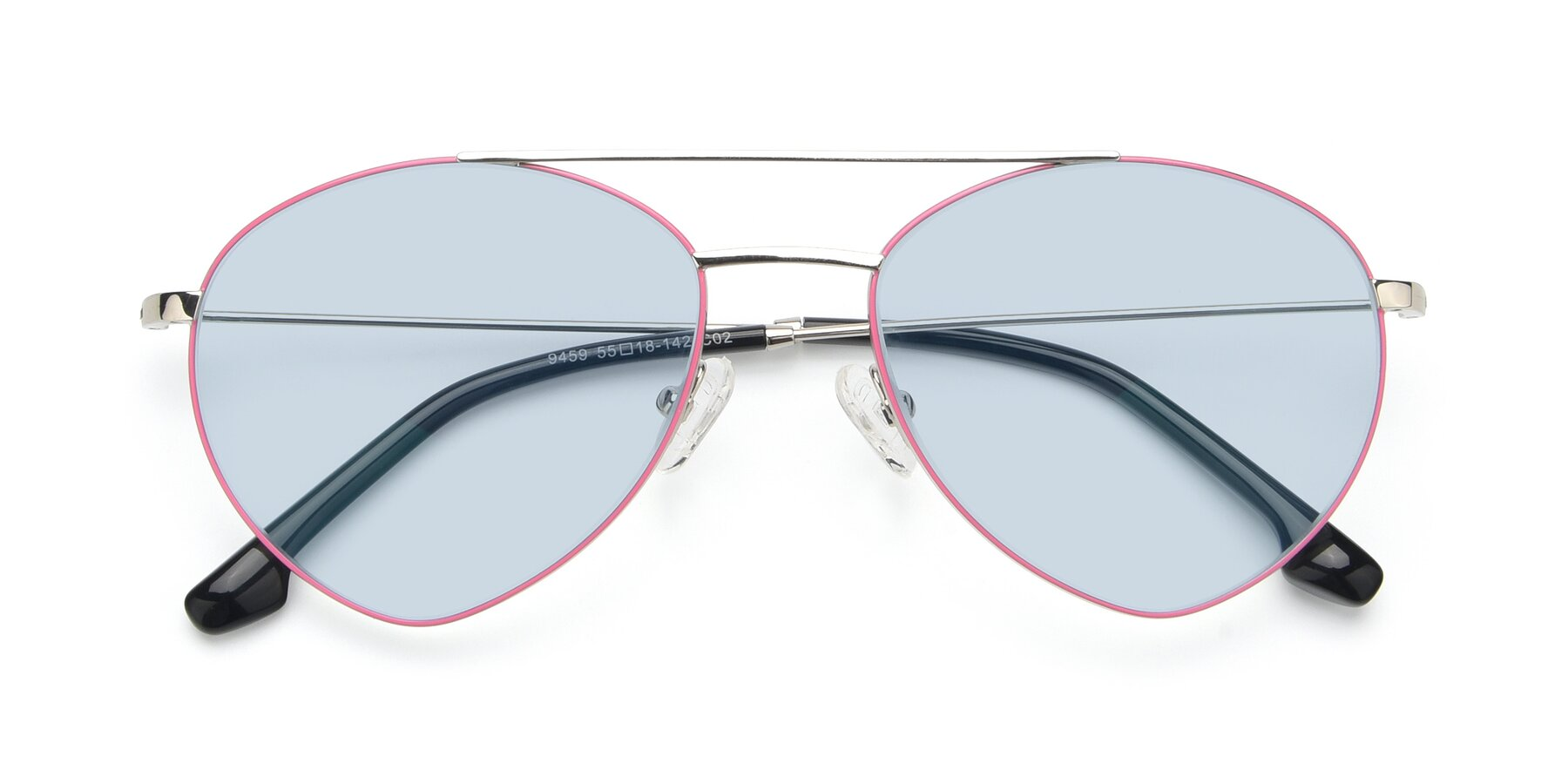 Folded Front of 9459 in Silver-Pink with Light Blue Tinted Lenses