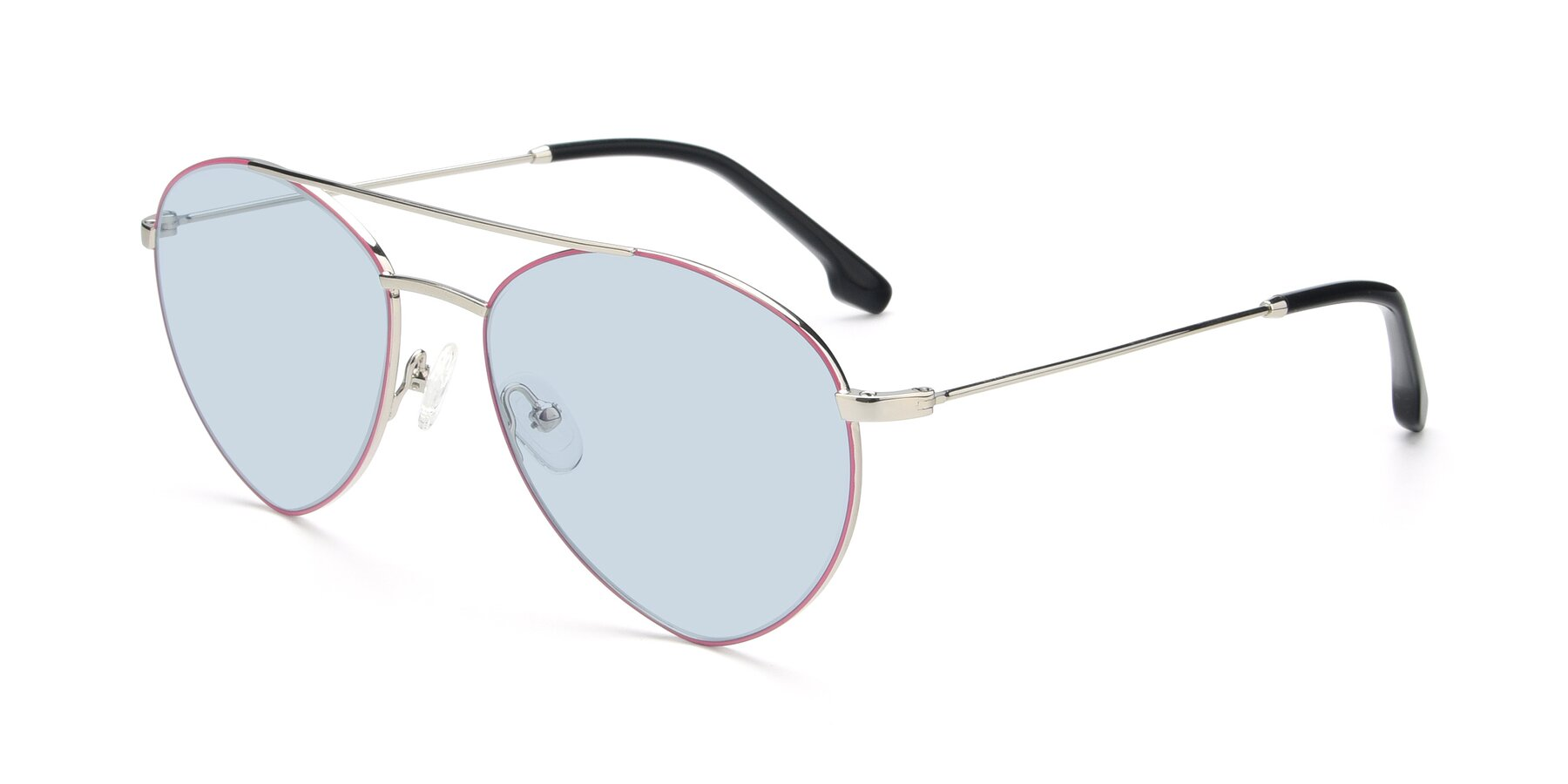 Angle of 9459 in Silver-Pink with Light Blue Tinted Lenses