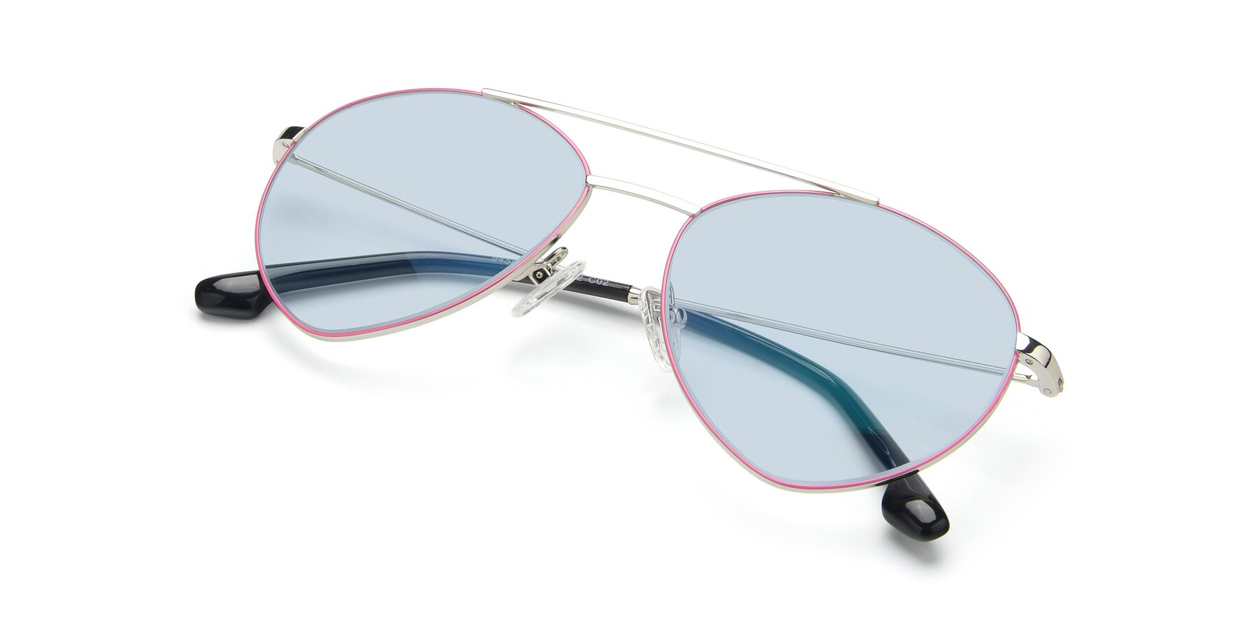 View of 9459 in Silver-Pink with Light Blue Tinted Lenses