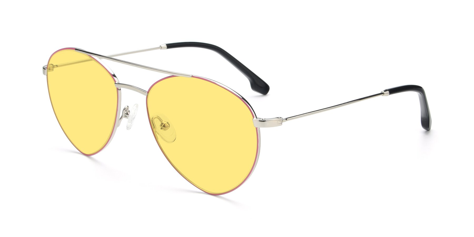 Angle of 9459 in Silver-Pink with Medium Yellow Tinted Lenses