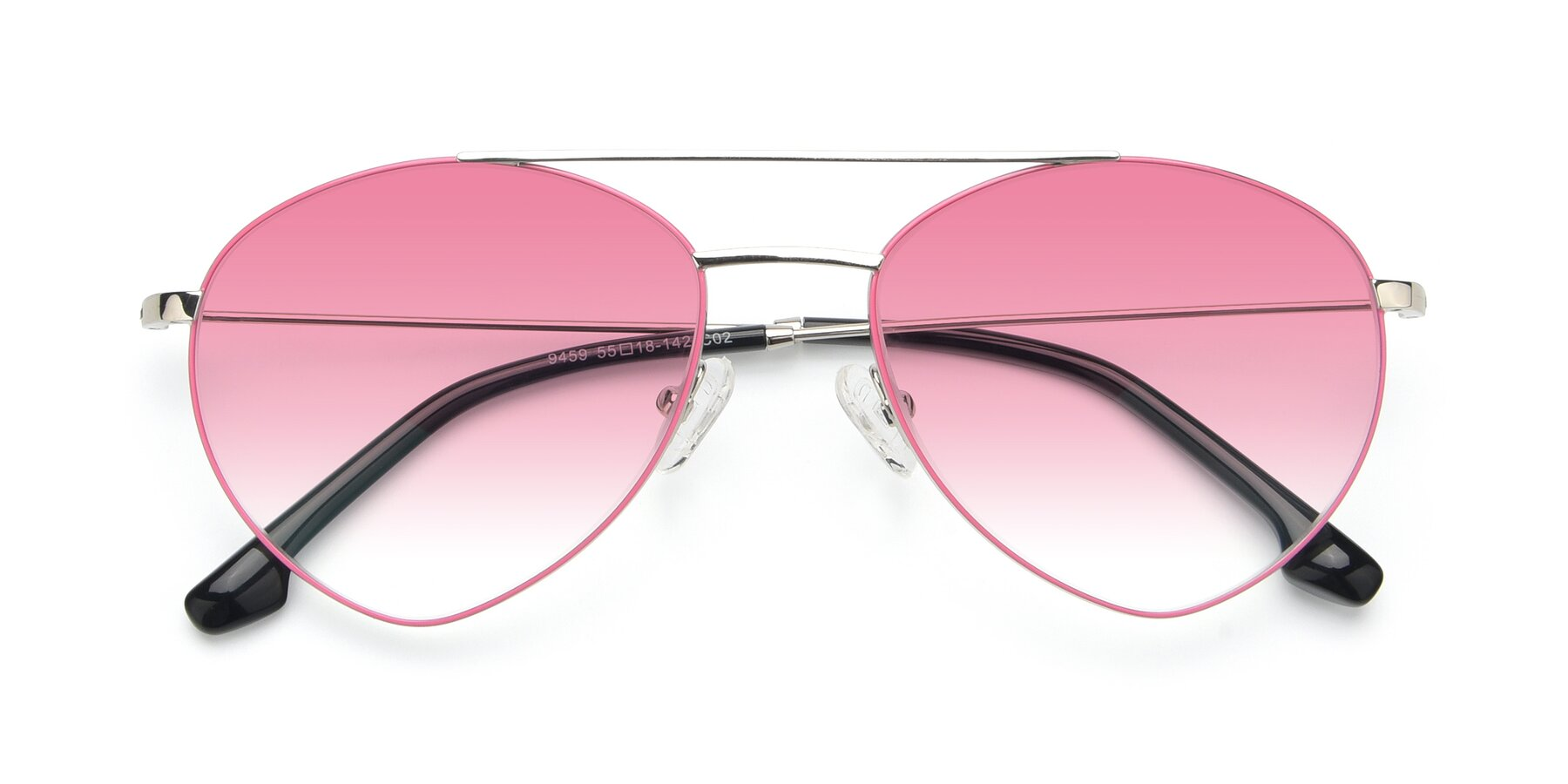 Folded Front of 9459 in Silver-Pink with Pink Gradient Lenses