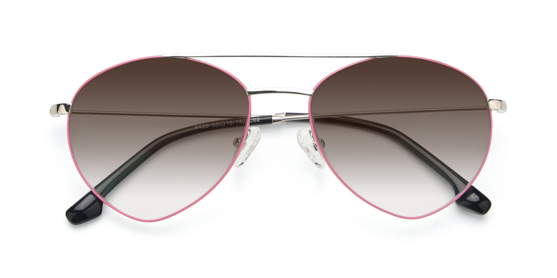 Folded Front of 9459 in Silver-Pink with Brown Gradient Lenses