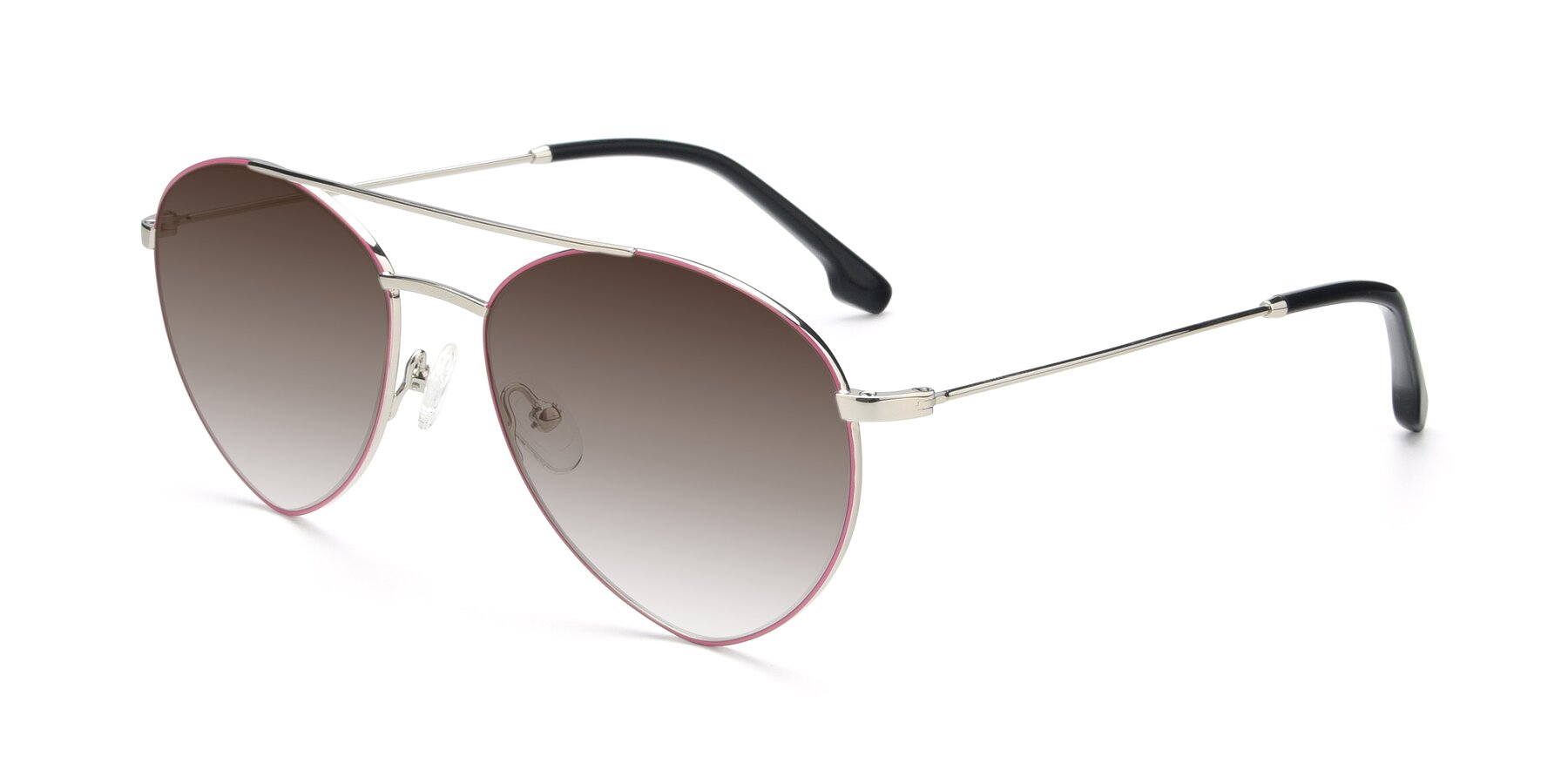 Angle of 9459 in Silver-Pink with Brown Gradient Lenses