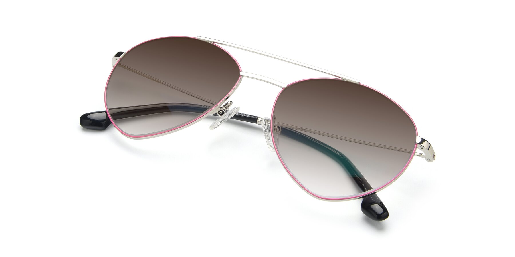 View of 9459 in Silver-Pink with Brown Gradient Lenses