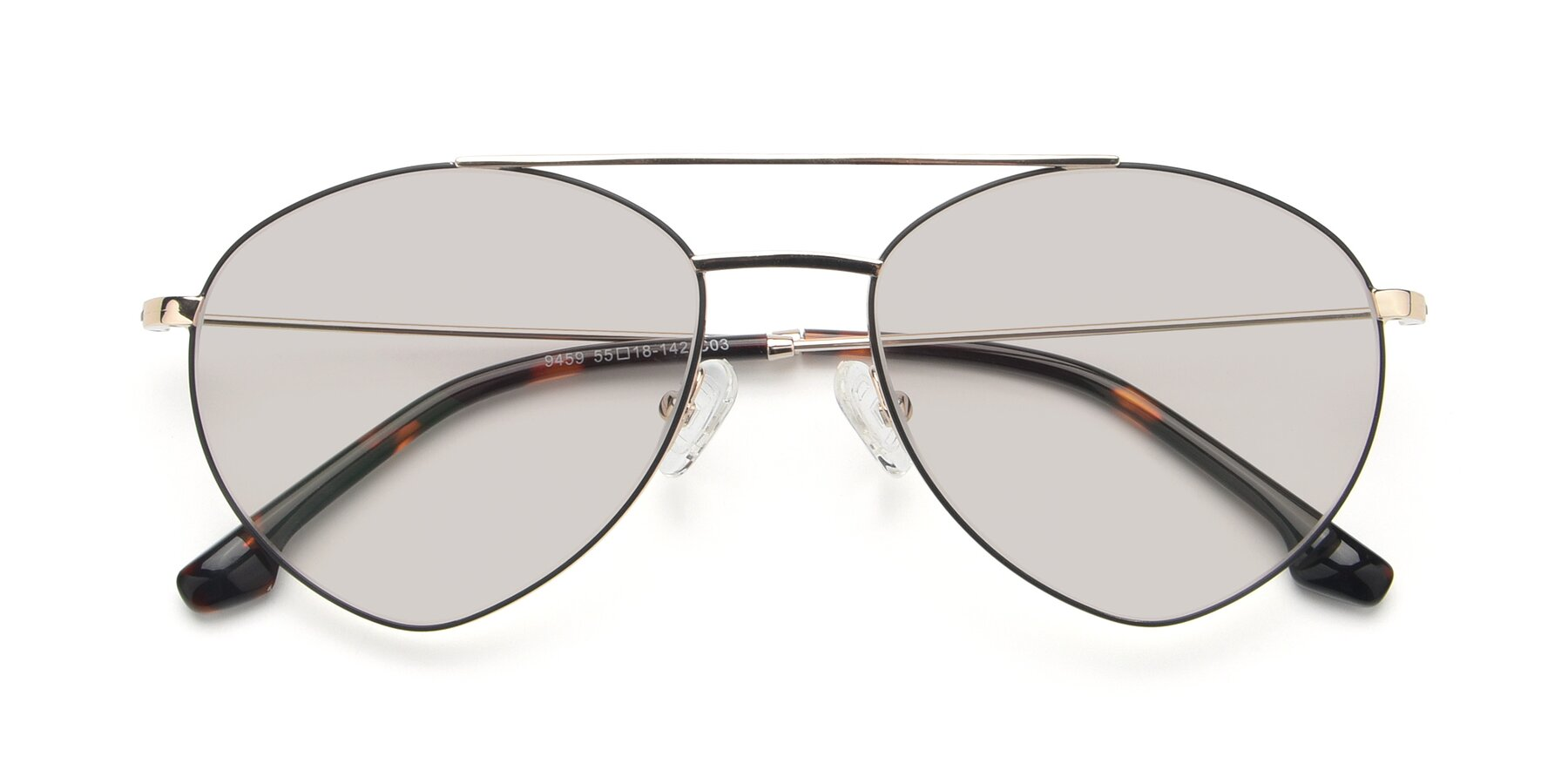 Folded Front of 9459 in Gold-Black with Light Brown Tinted Lenses