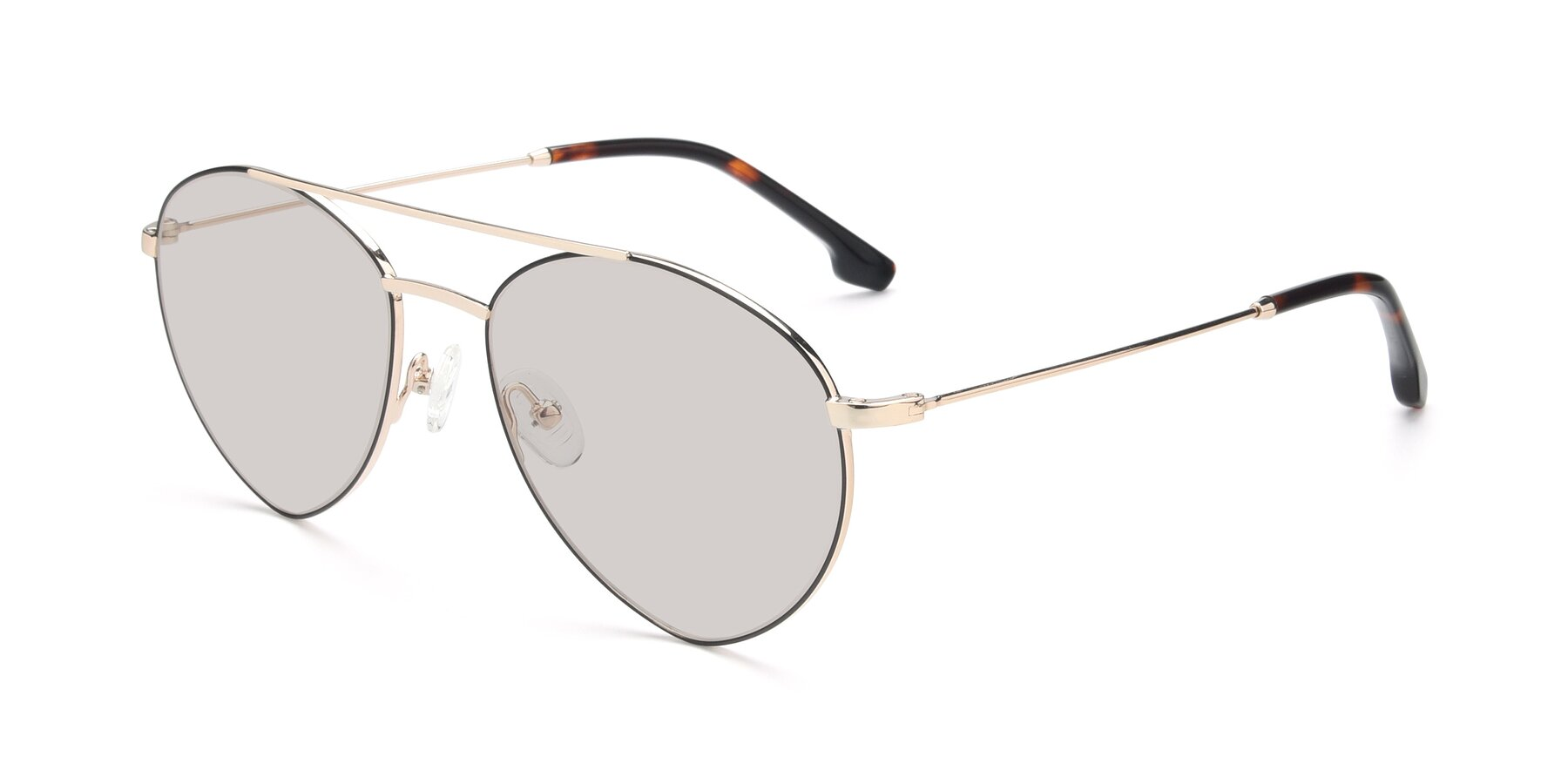Angle of 9459 in Gold-Black with Light Brown Tinted Lenses