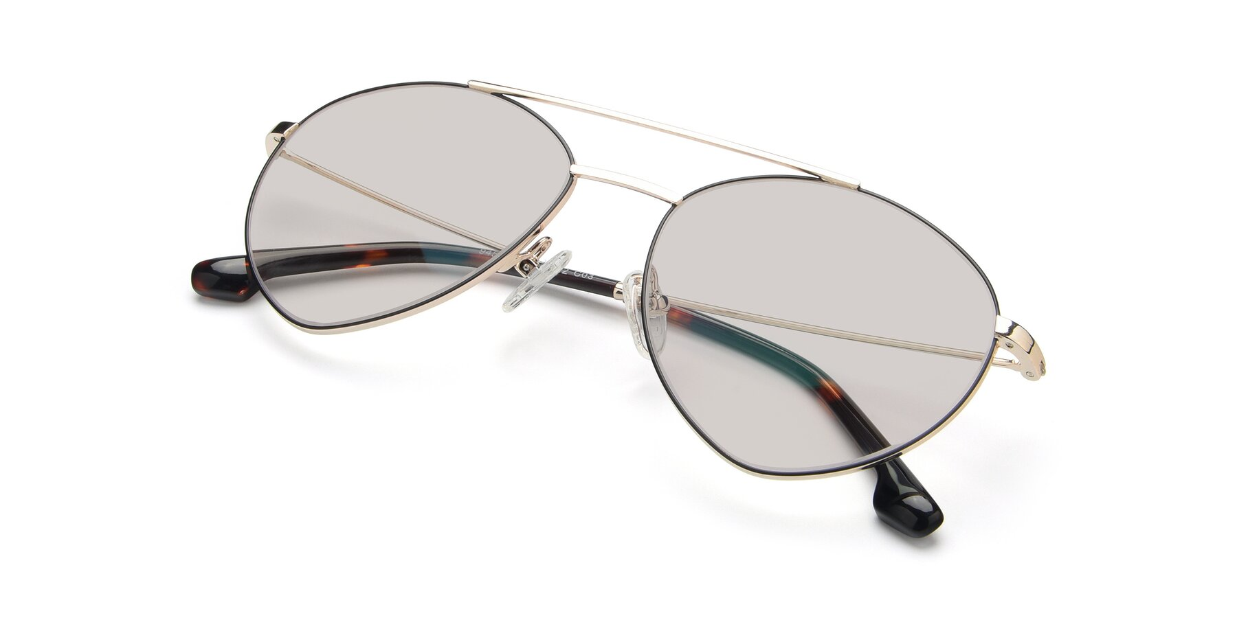View of 9459 in Gold-Black with Light Brown Tinted Lenses