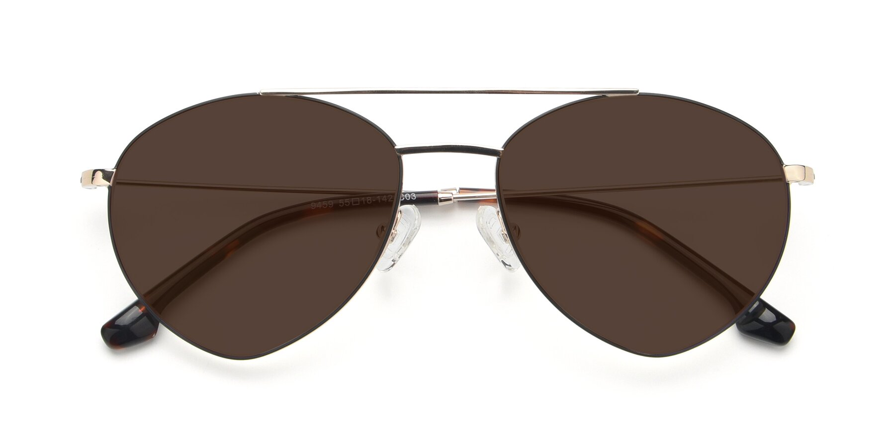 Folded Front of 9459 in Gold-Black with Brown Tinted Lenses
