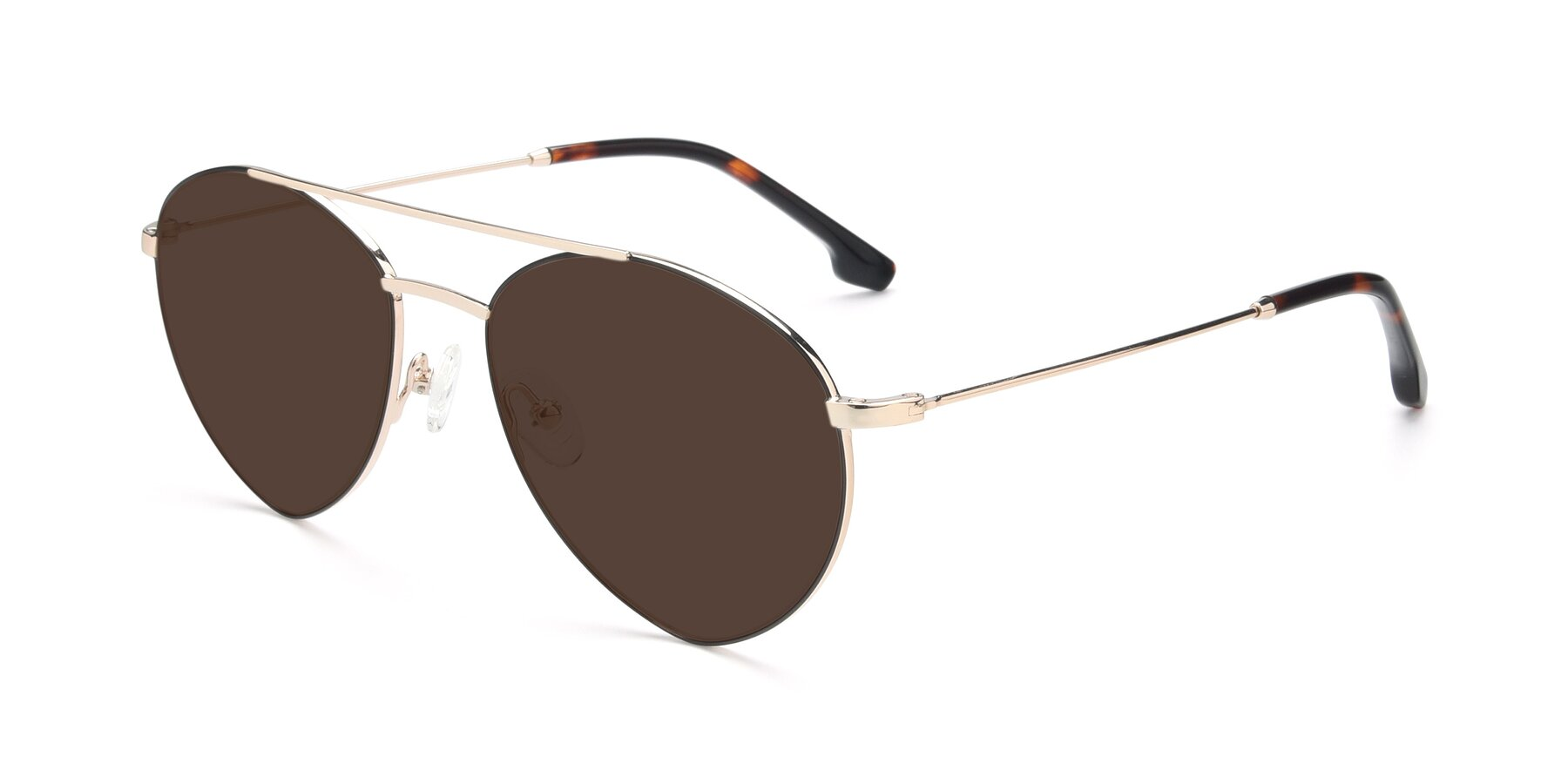 Angle of 9459 in Gold-Black with Brown Tinted Lenses