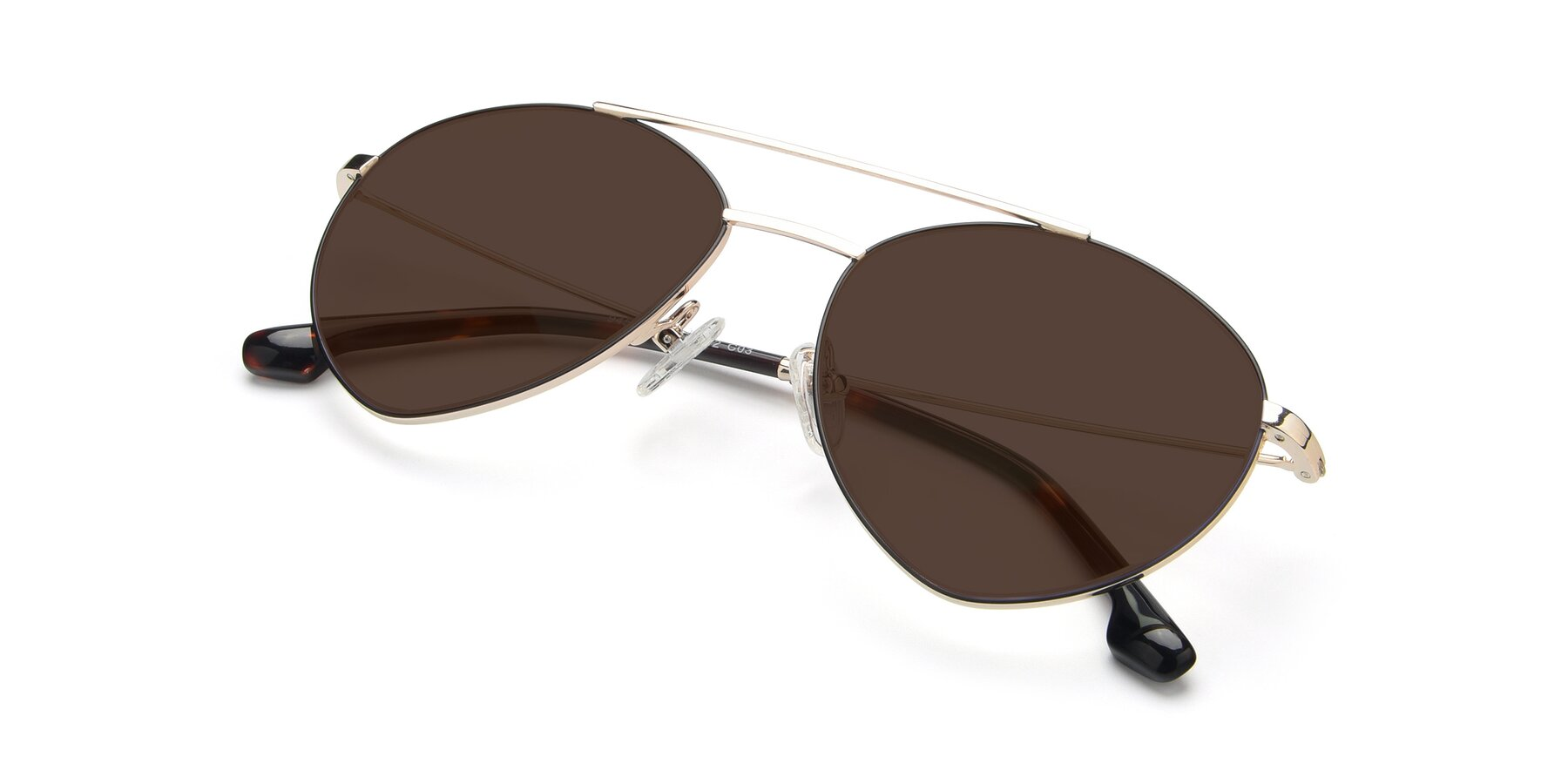 View of 9459 in Gold-Black with Brown Tinted Lenses