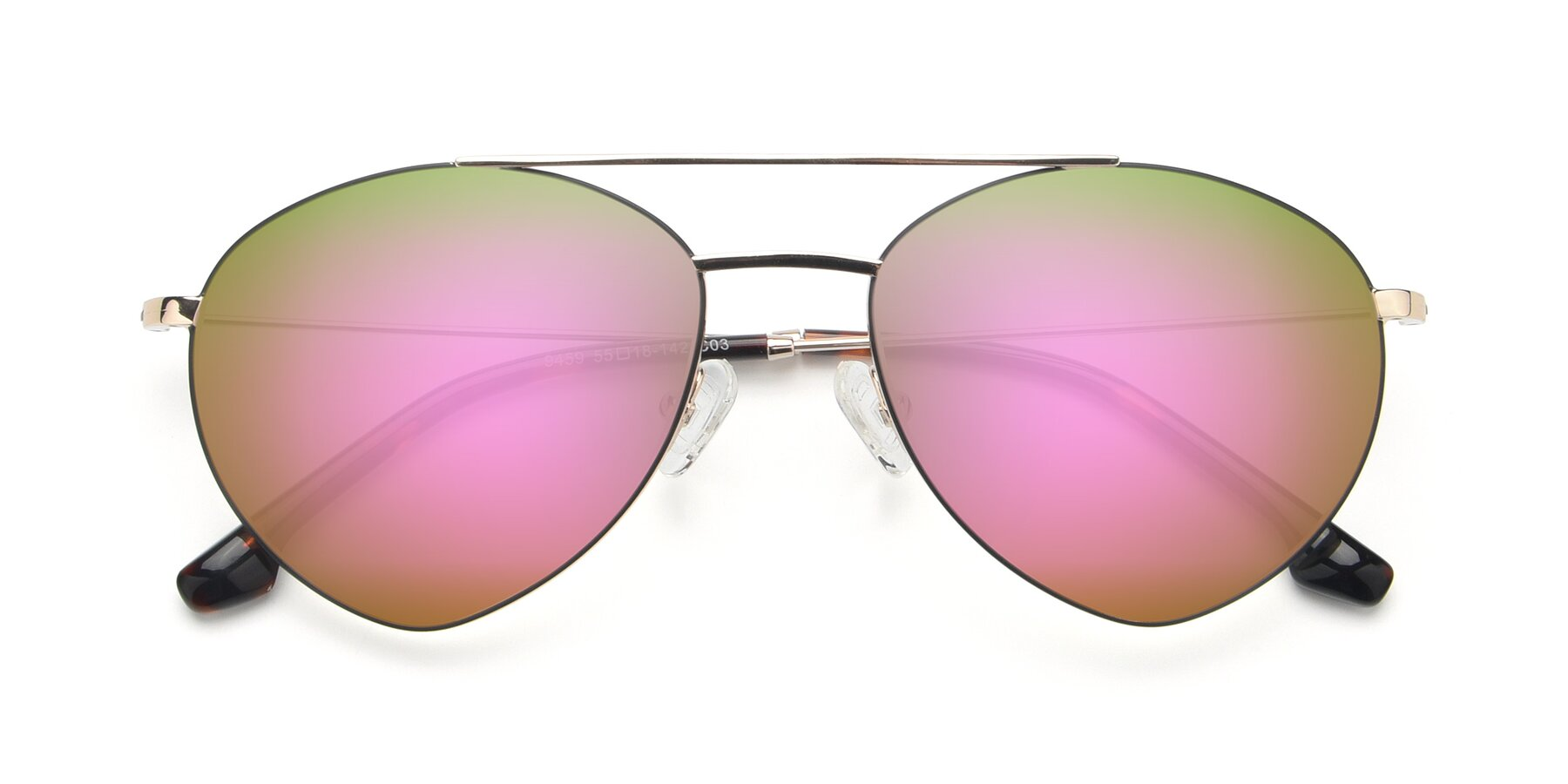 Folded Front of 9459 in Gold-Black with Pink Mirrored Lenses