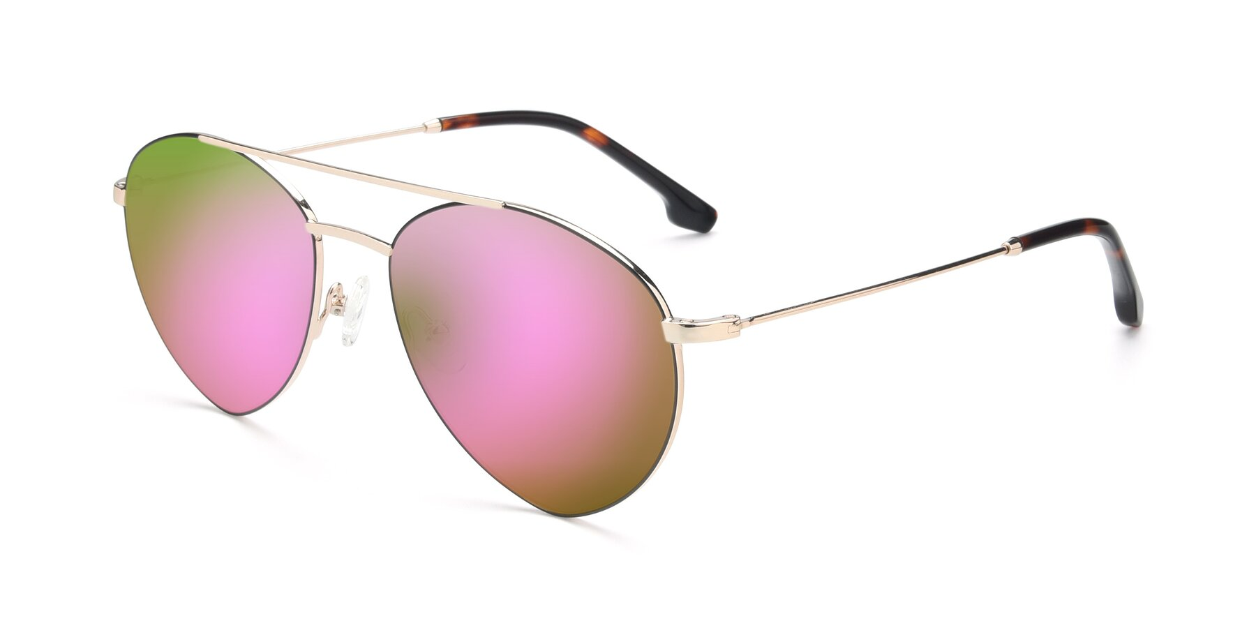 Angle of 9459 in Gold-Black with Pink Mirrored Lenses