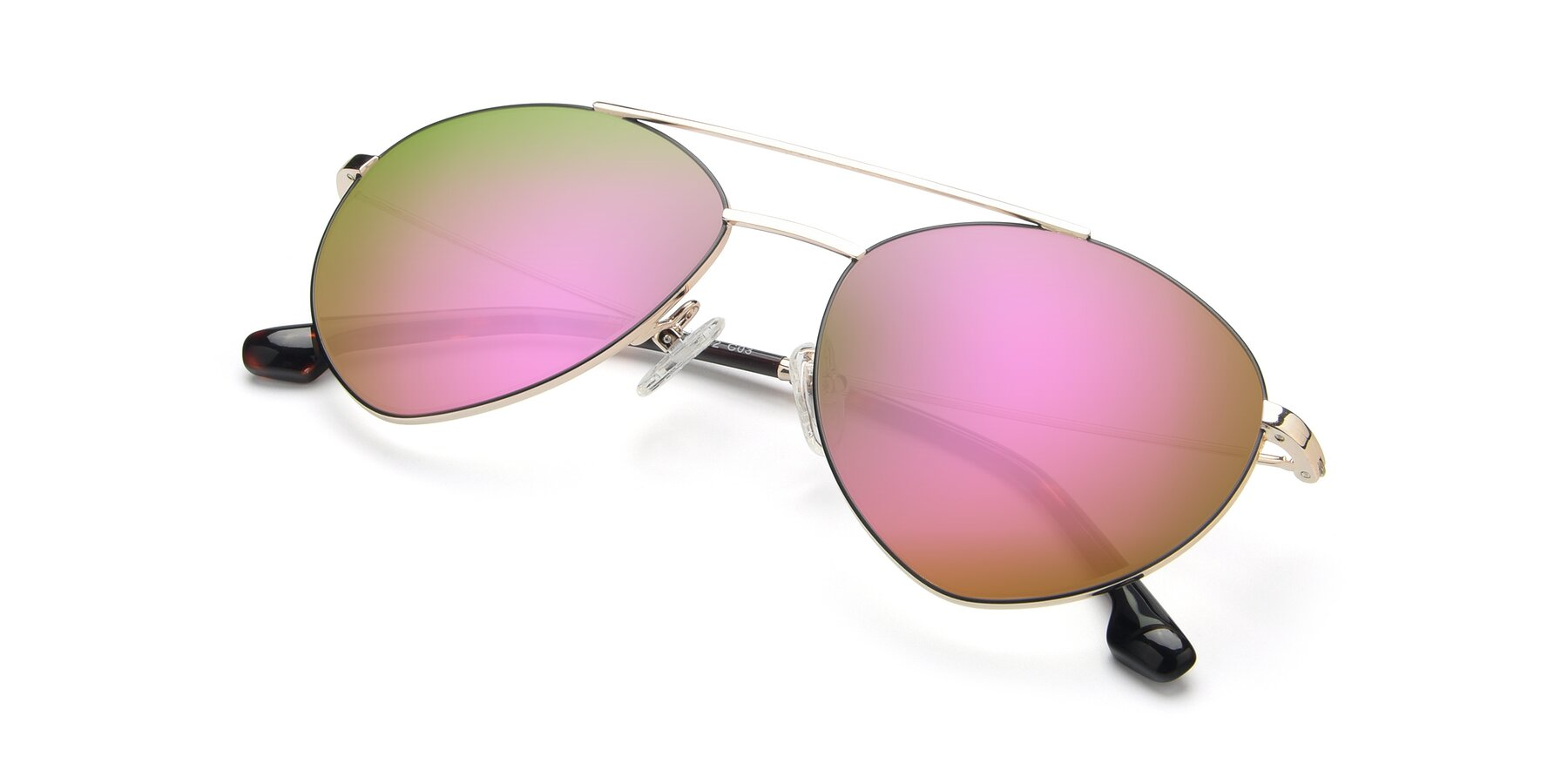 View of 9459 in Gold-Black with Pink Mirrored Lenses