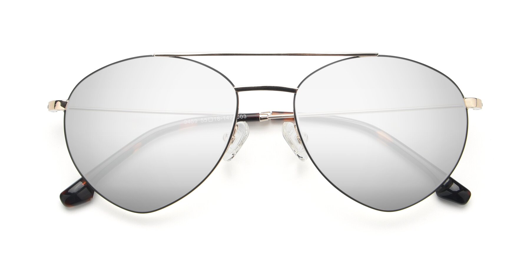 Folded Front of 9459 in Gold-Black with Silver Mirrored Lenses