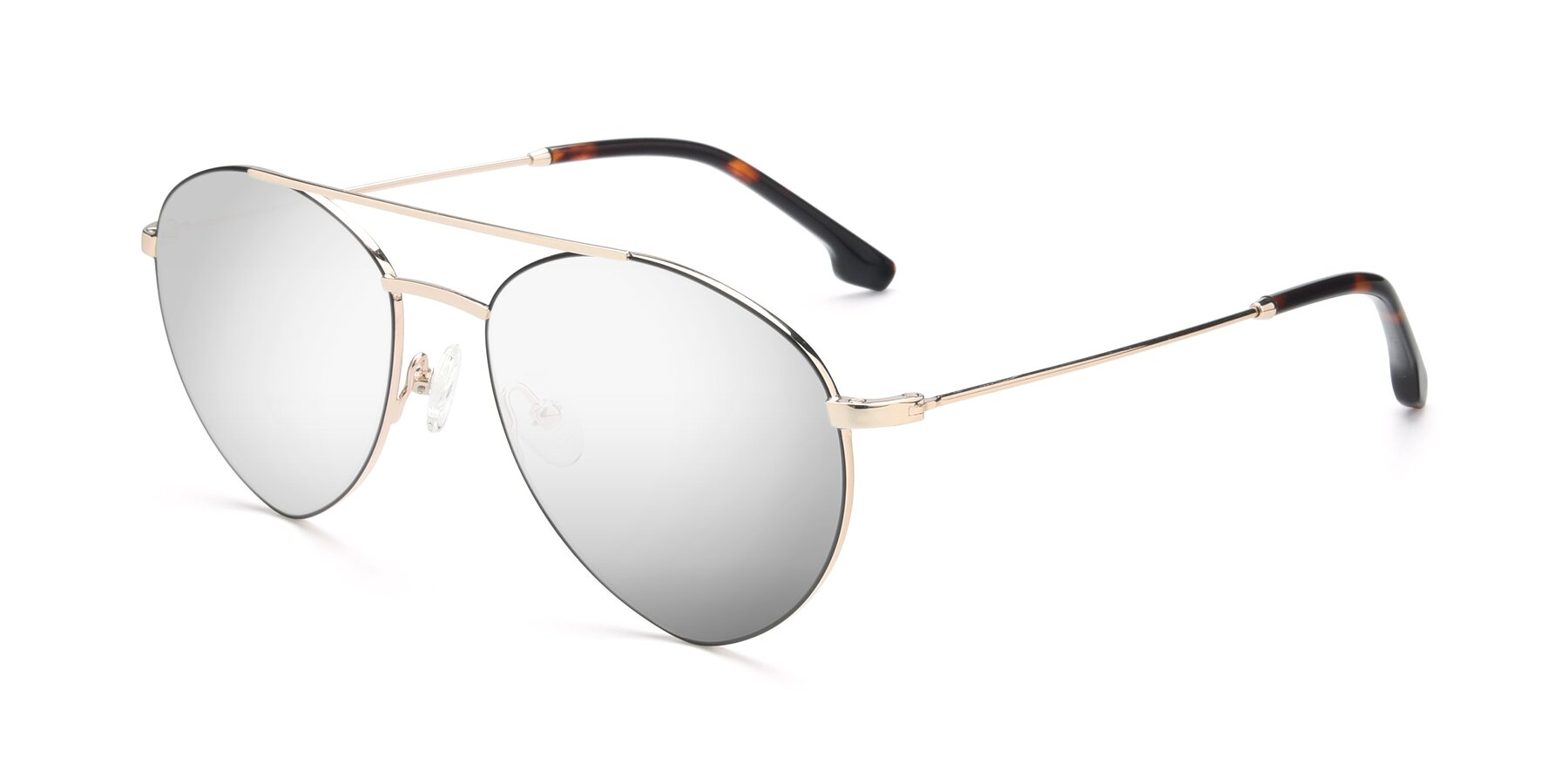 Angle of 9459 in Gold-Black with Silver Mirrored Lenses