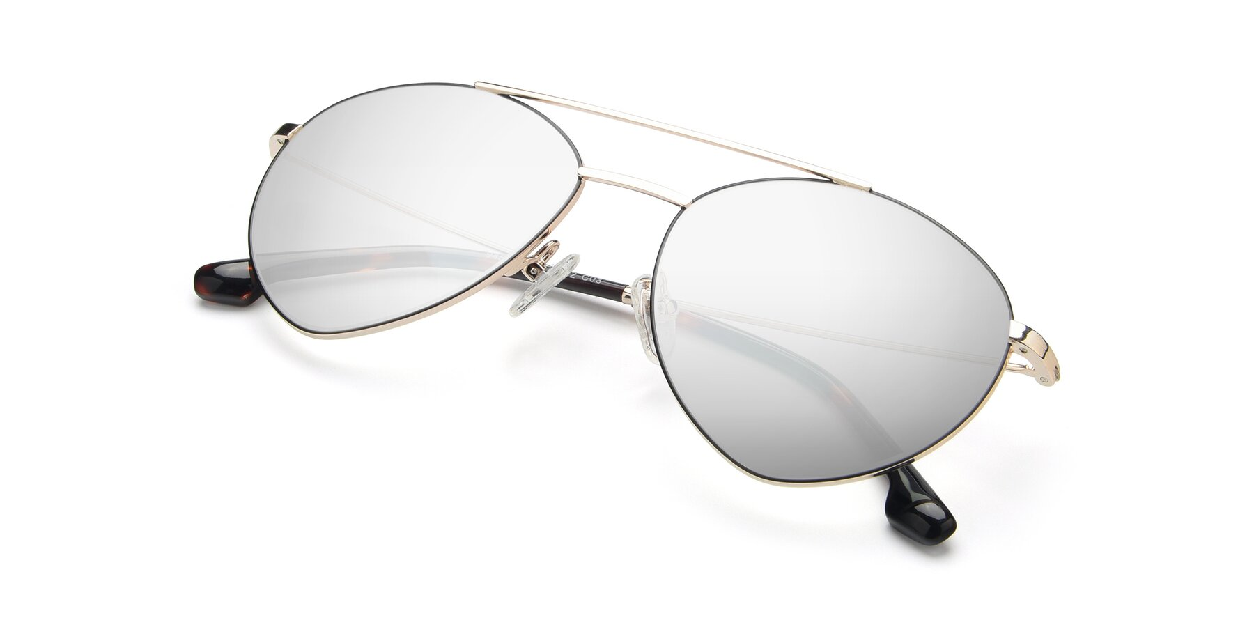 View of 9459 in Gold-Black with Silver Mirrored Lenses