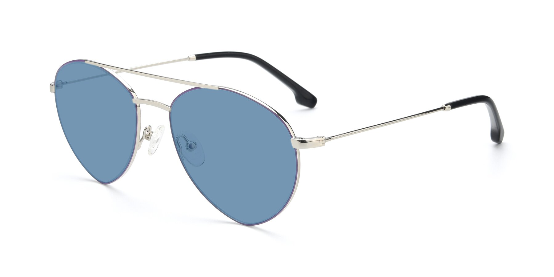 Angle of 9459 in Silver-Purple with Medium Blue Tinted Lenses