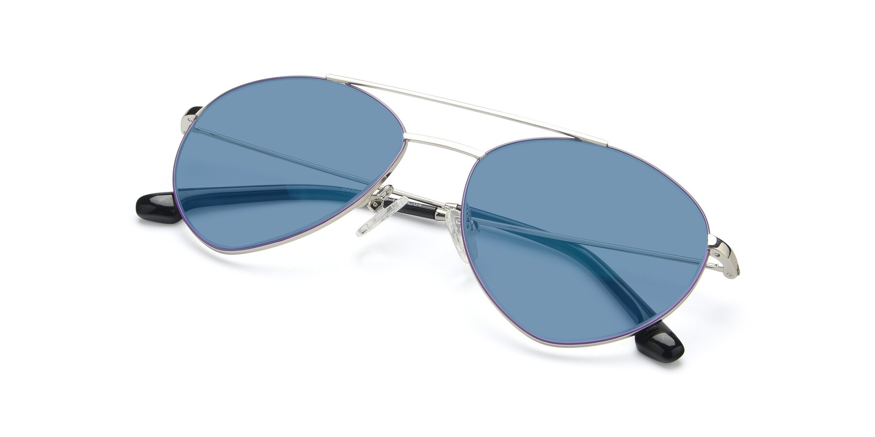 View of 9459 in Silver-Purple with Medium Blue Tinted Lenses