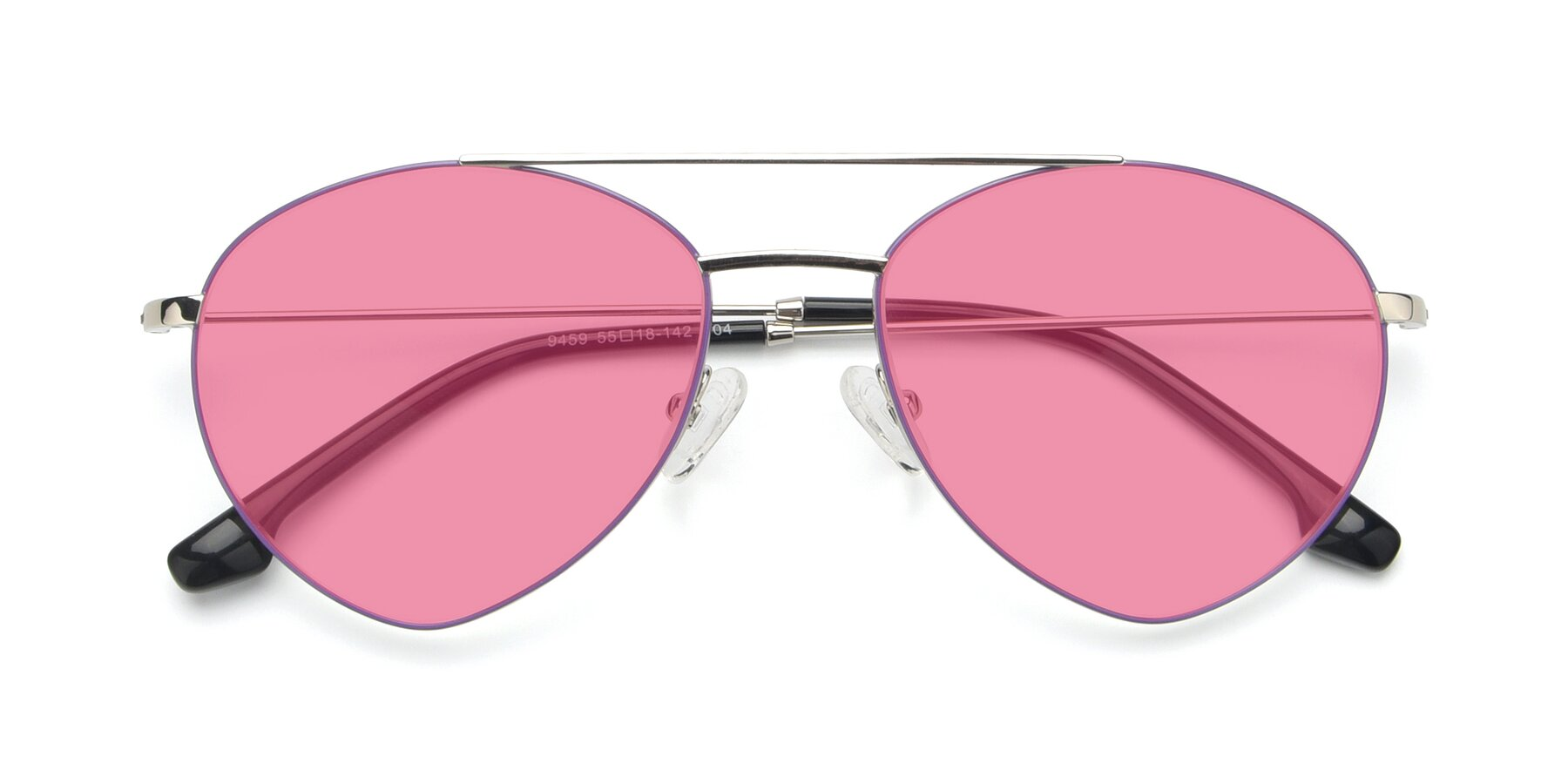 Folded Front of 9459 in Silver-Purple with Pink Tinted Lenses