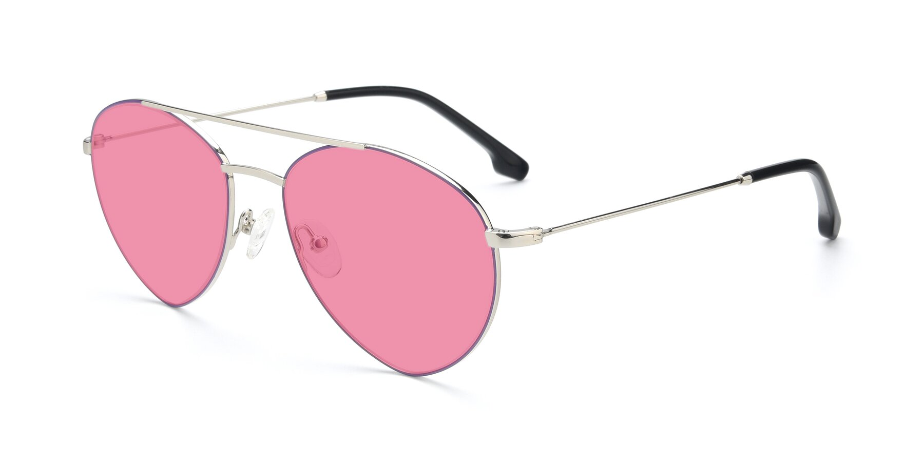 Angle of 9459 in Silver-Purple with Pink Tinted Lenses