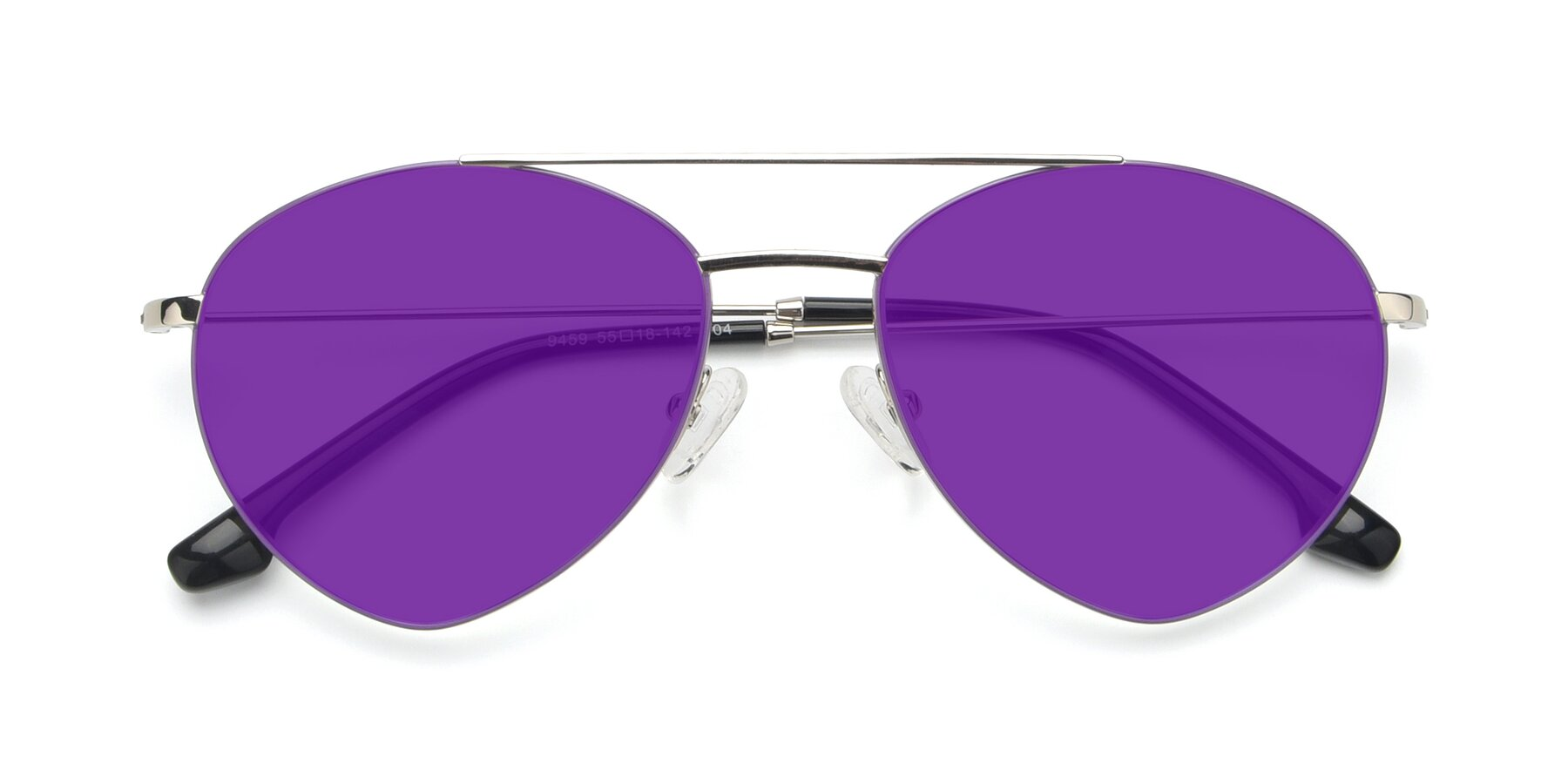 Folded Front of 9459 in Silver-Purple with Purple Tinted Lenses