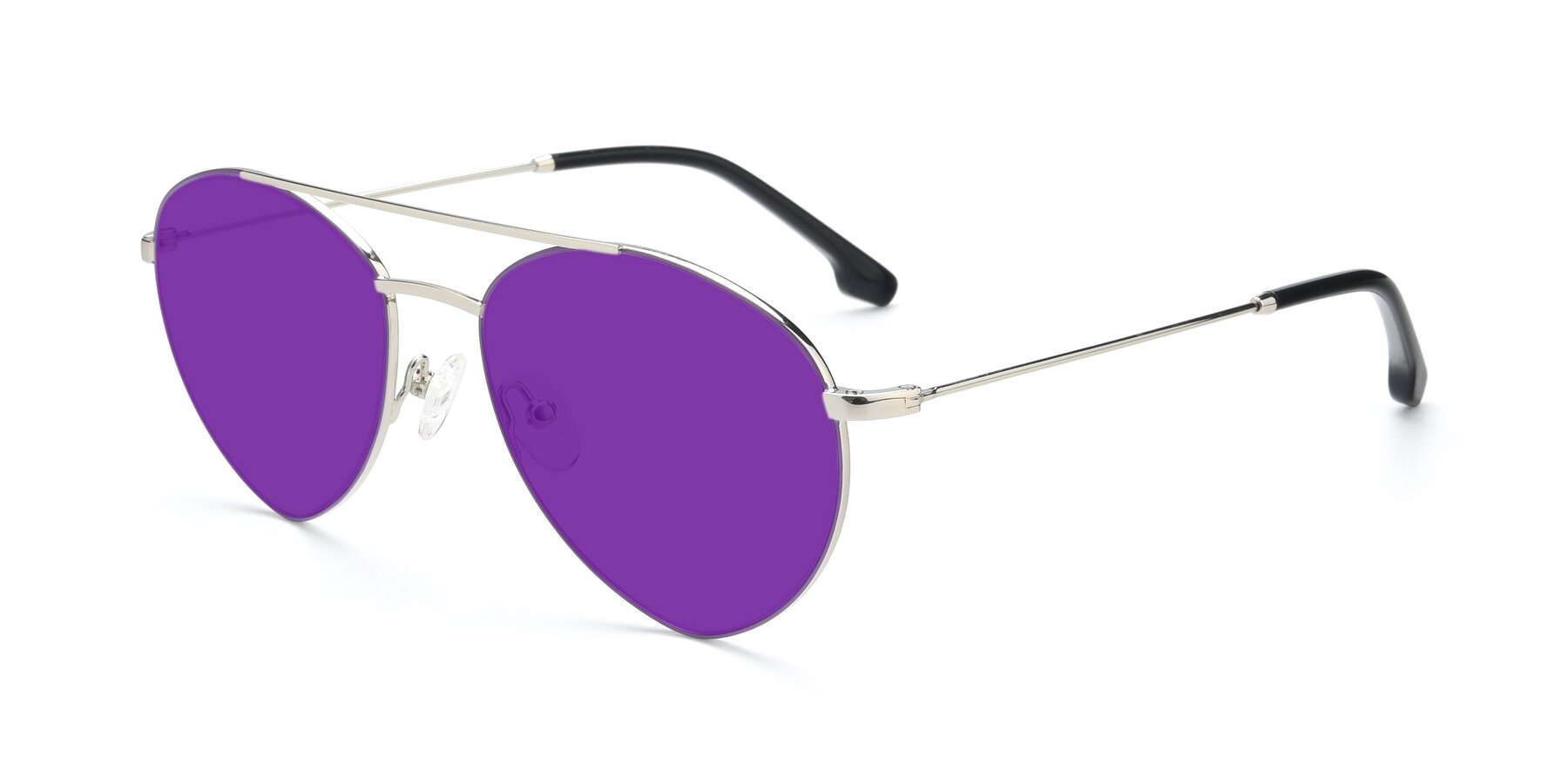 Angle of 9459 in Silver-Purple with Purple Tinted Lenses