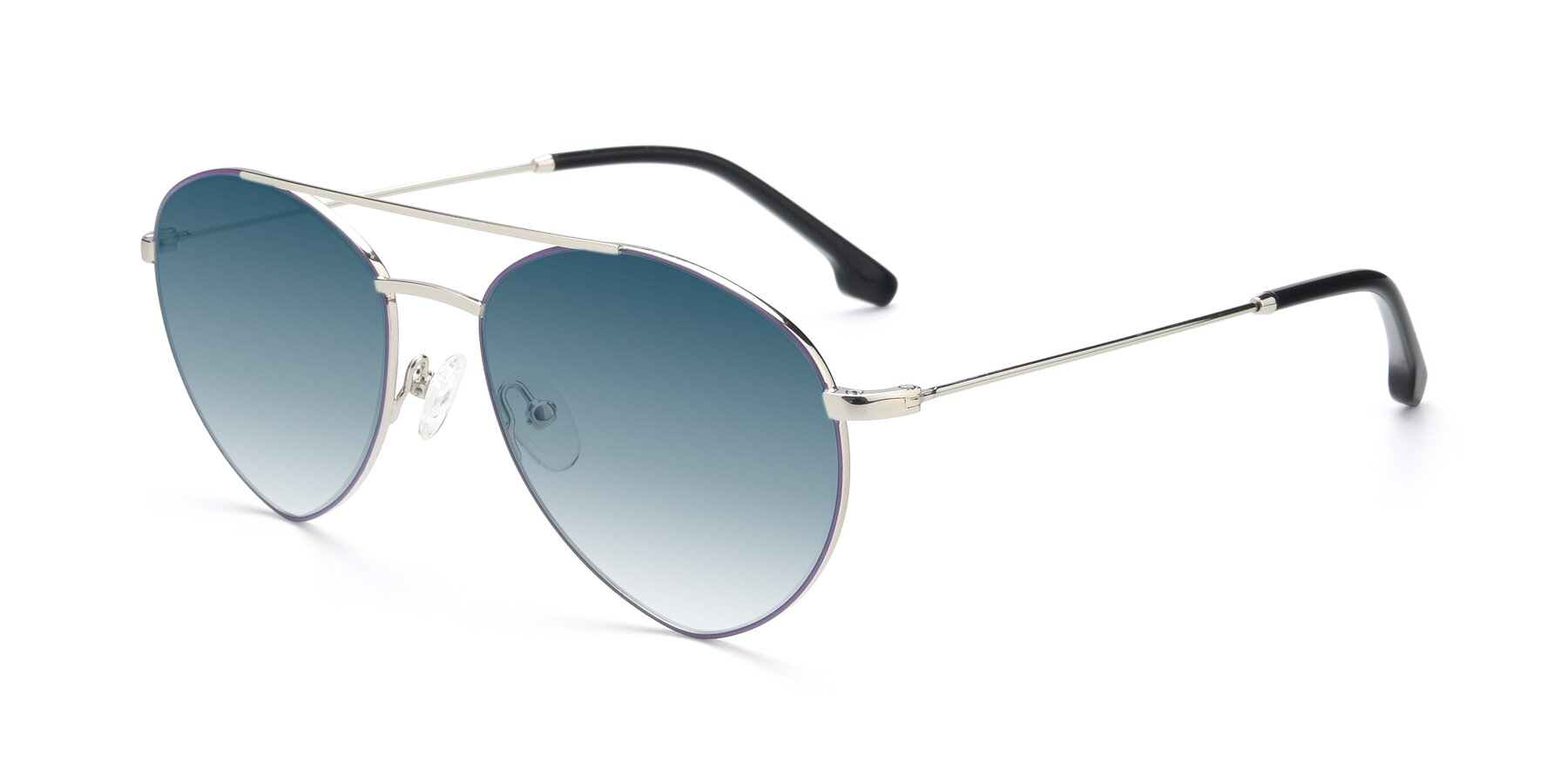 Angle of 9459 in Silver-Purple with Blue Gradient Lenses