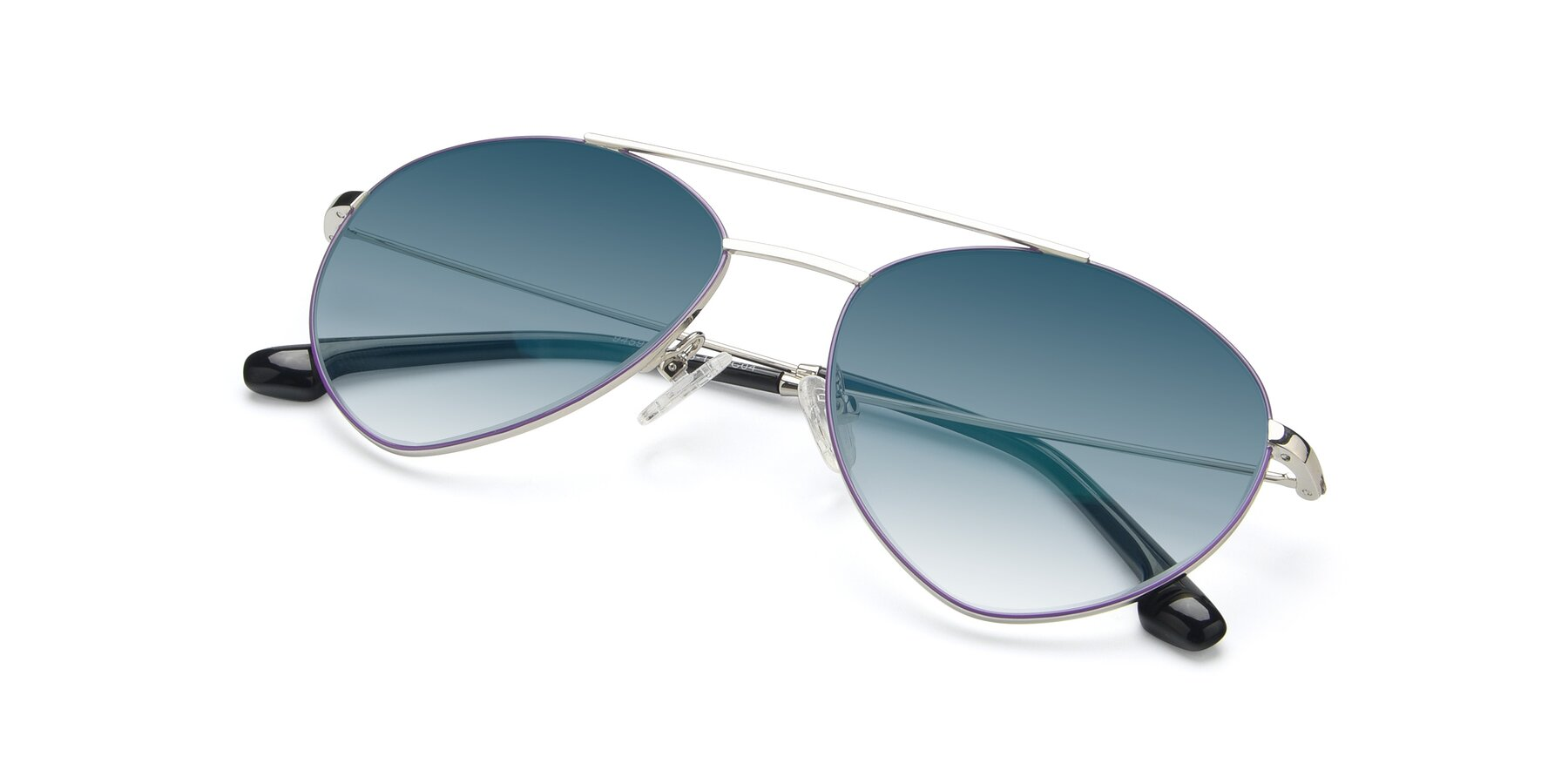 View of 9459 in Silver-Purple with Blue Gradient Lenses
