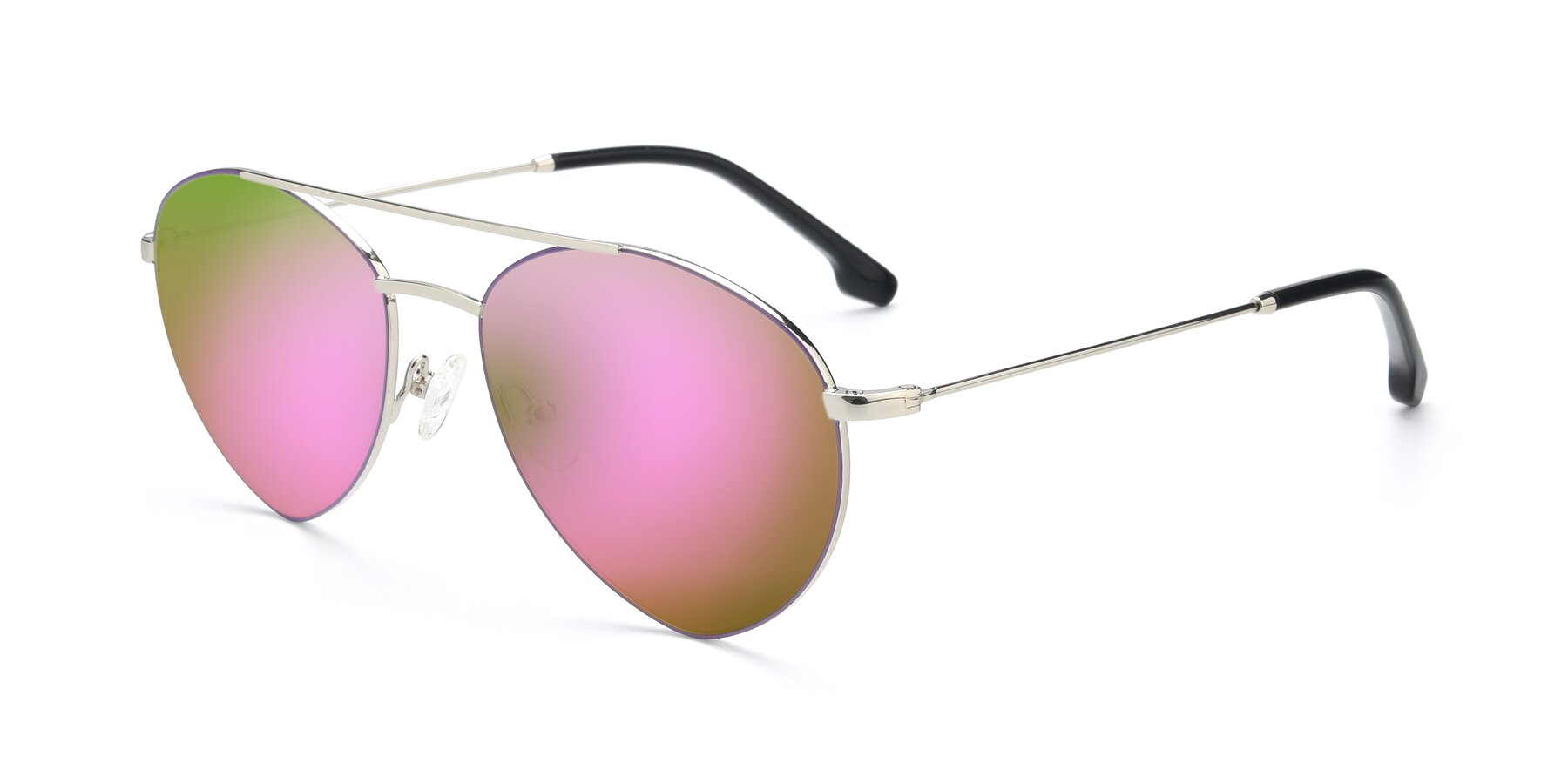 Angle of 9459 in Silver-Purple with Pink Mirrored Lenses
