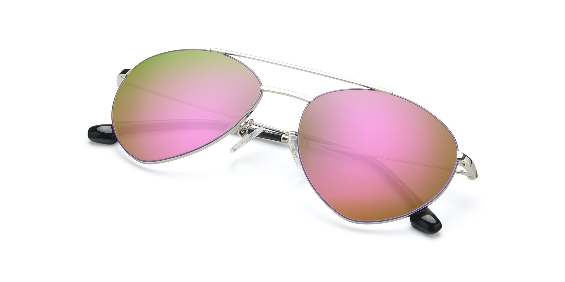 View of 9459 in Silver-Purple with Pink Mirrored Lenses