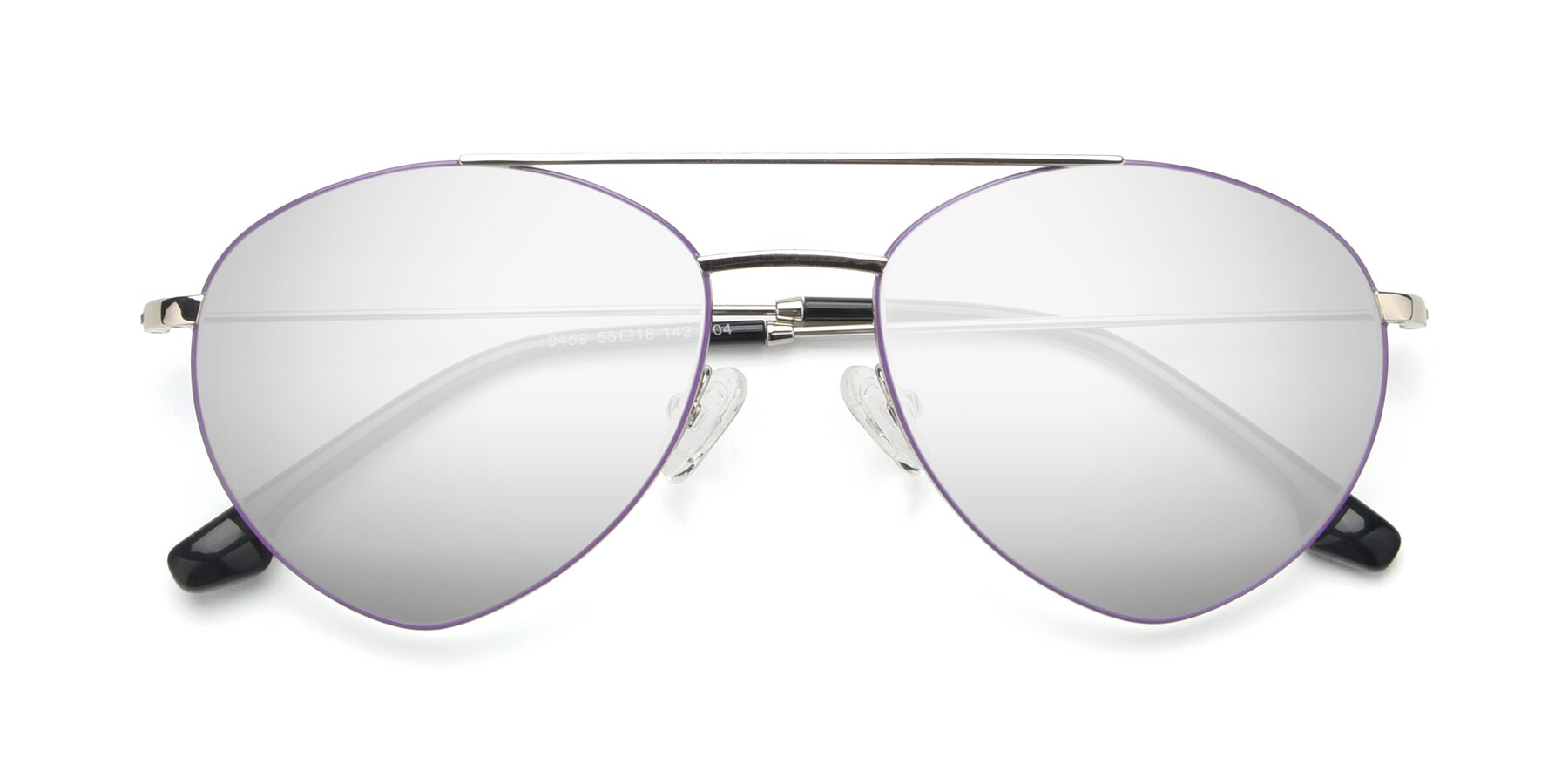 Folded Front of 9459 in Silver-Purple with Silver Mirrored Lenses