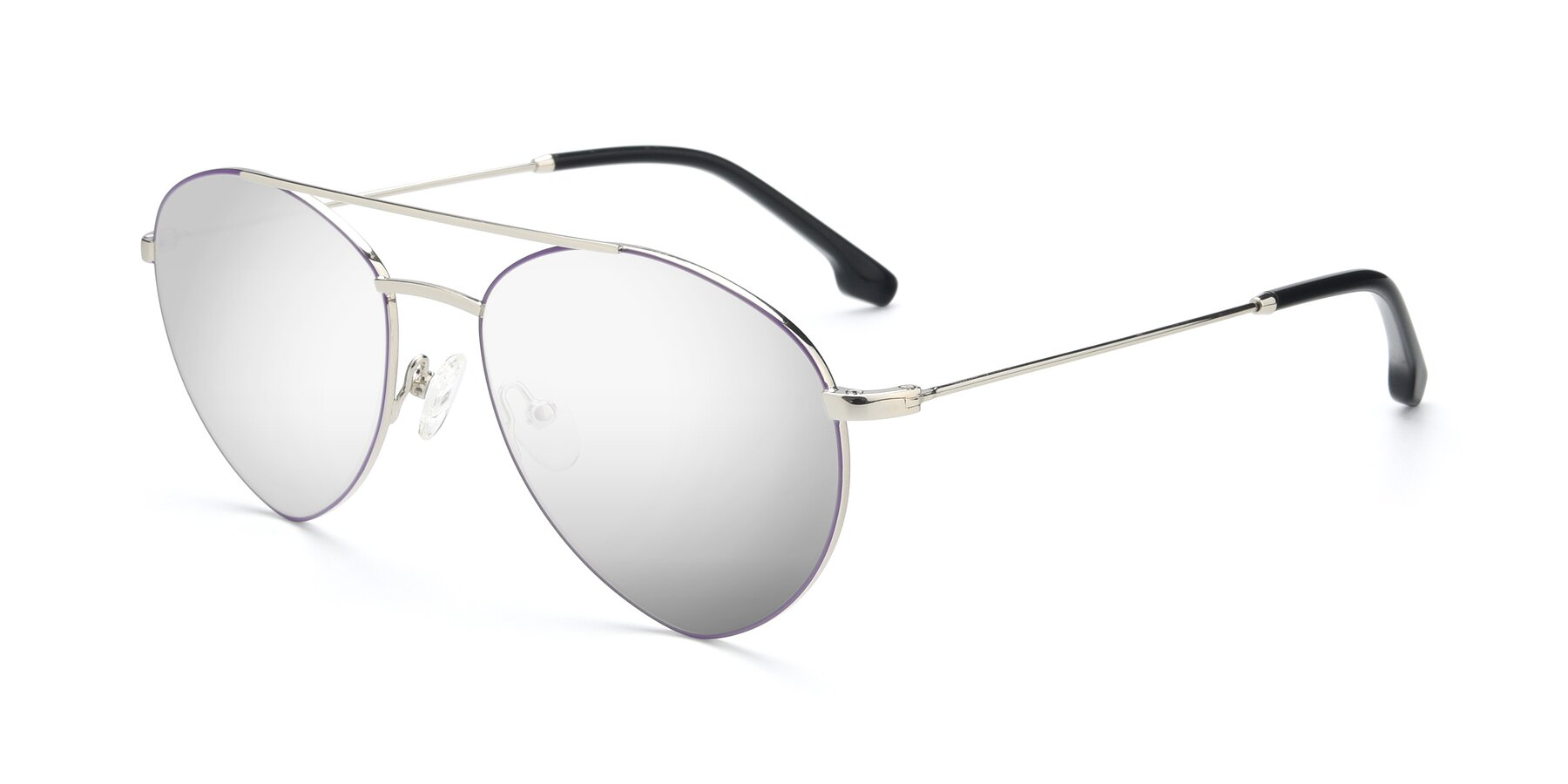 Angle of 9459 in Silver-Purple with Silver Mirrored Lenses