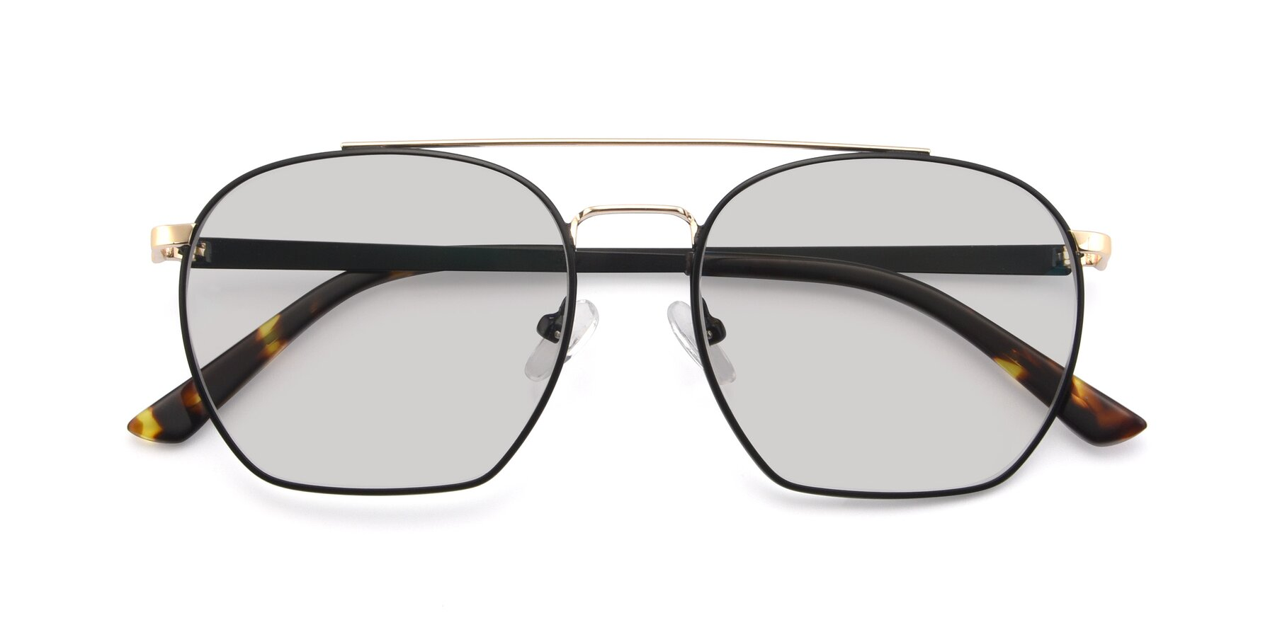Folded Front of 9425 in Black-Gold with Light Gray Tinted Lenses