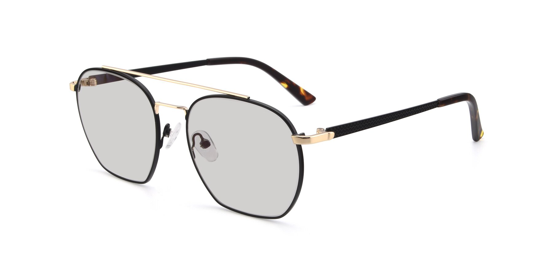 Angle of 9425 in Black-Gold with Light Gray Tinted Lenses