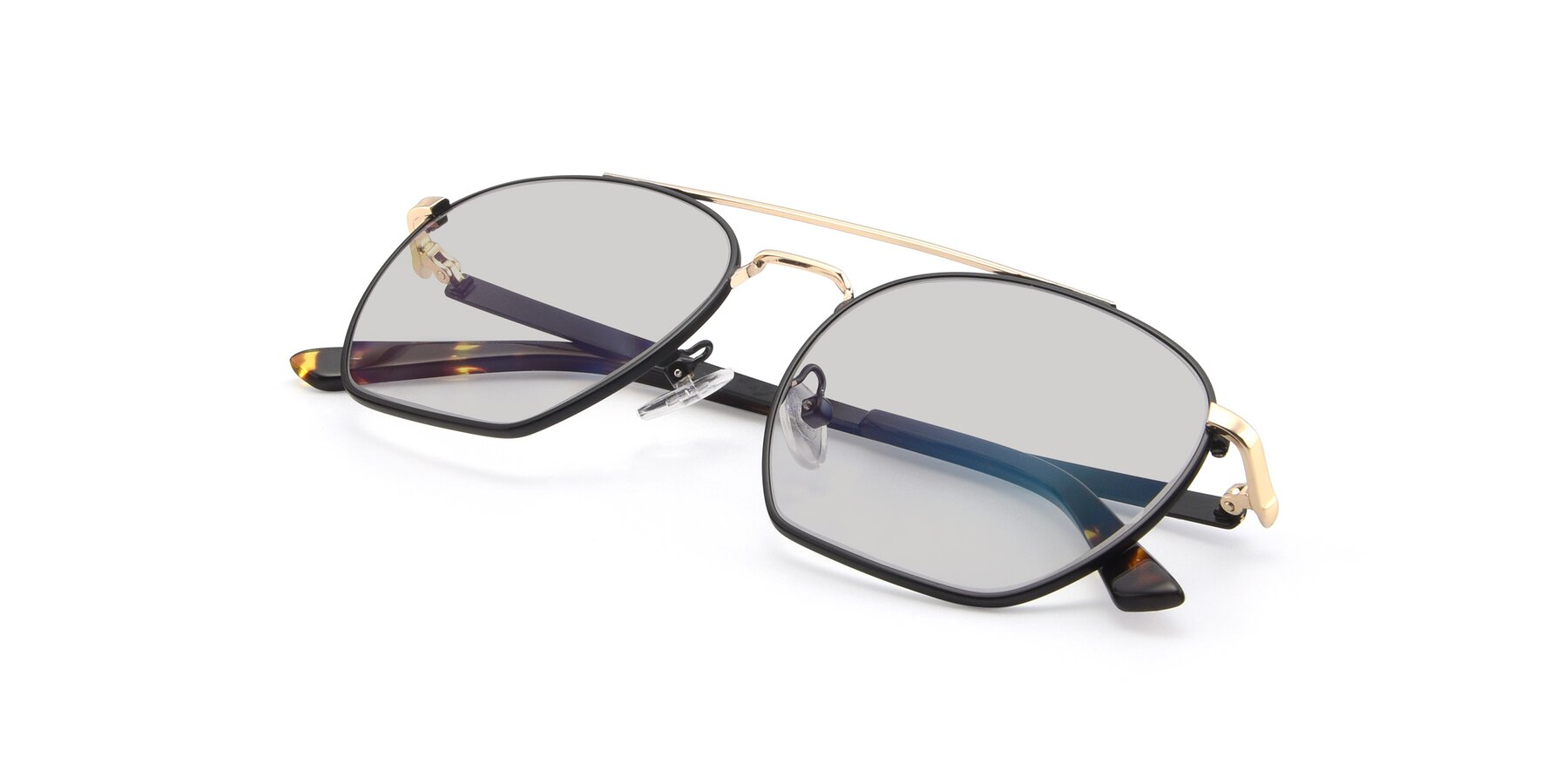 View of 9425 in Black-Gold with Light Gray Tinted Lenses