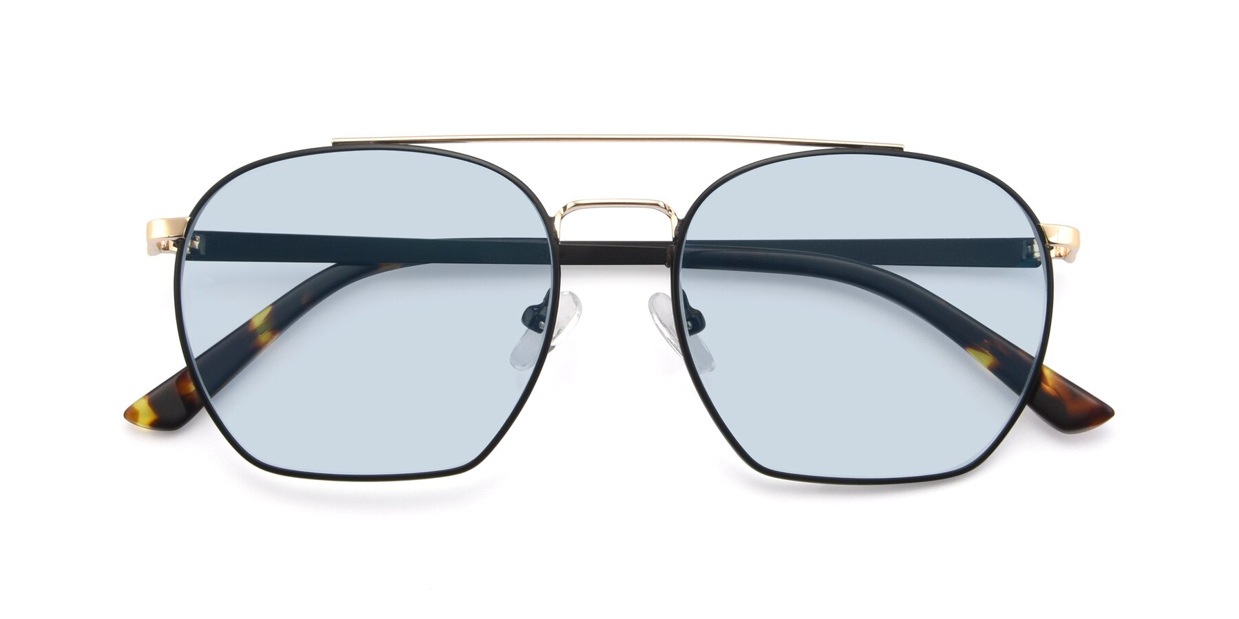 Folded Front of 9425 in Black-Gold with Light Blue Tinted Lenses