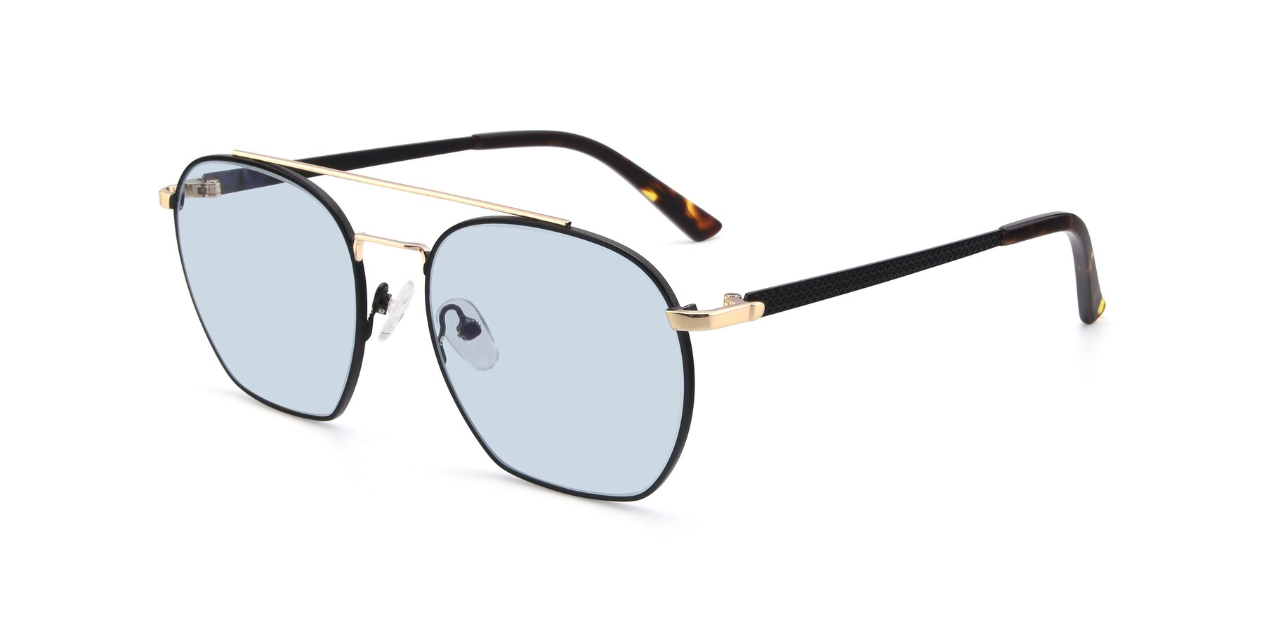 Angle of 9425 in Black-Gold with Light Blue Tinted Lenses