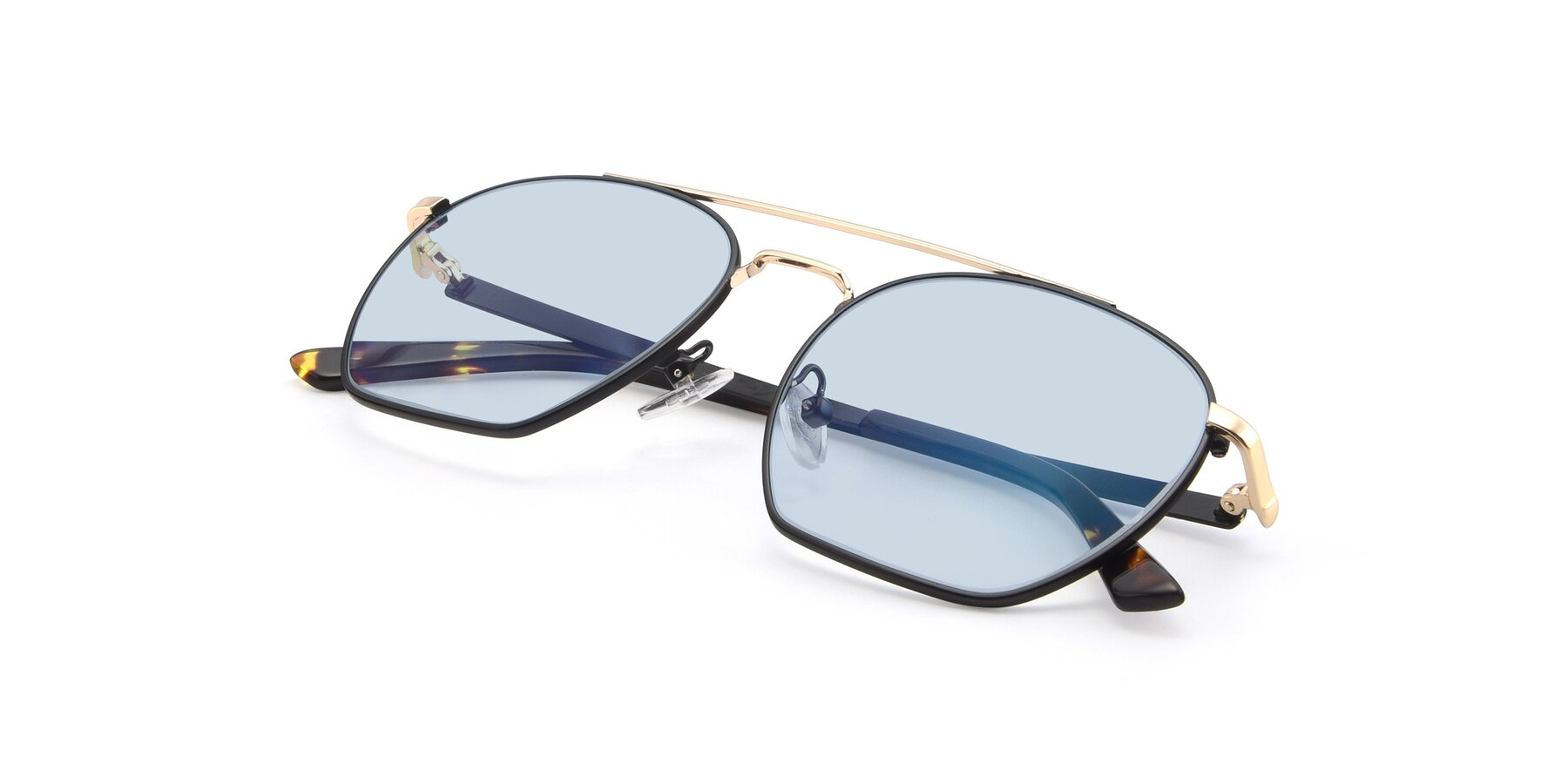 View of 9425 in Black-Gold with Light Blue Tinted Lenses