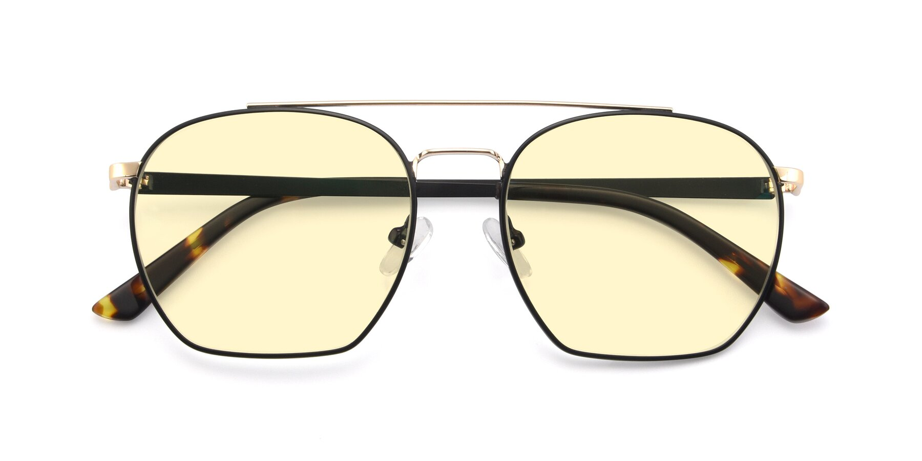 Folded Front of 9425 in Black-Gold with Light Yellow Tinted Lenses