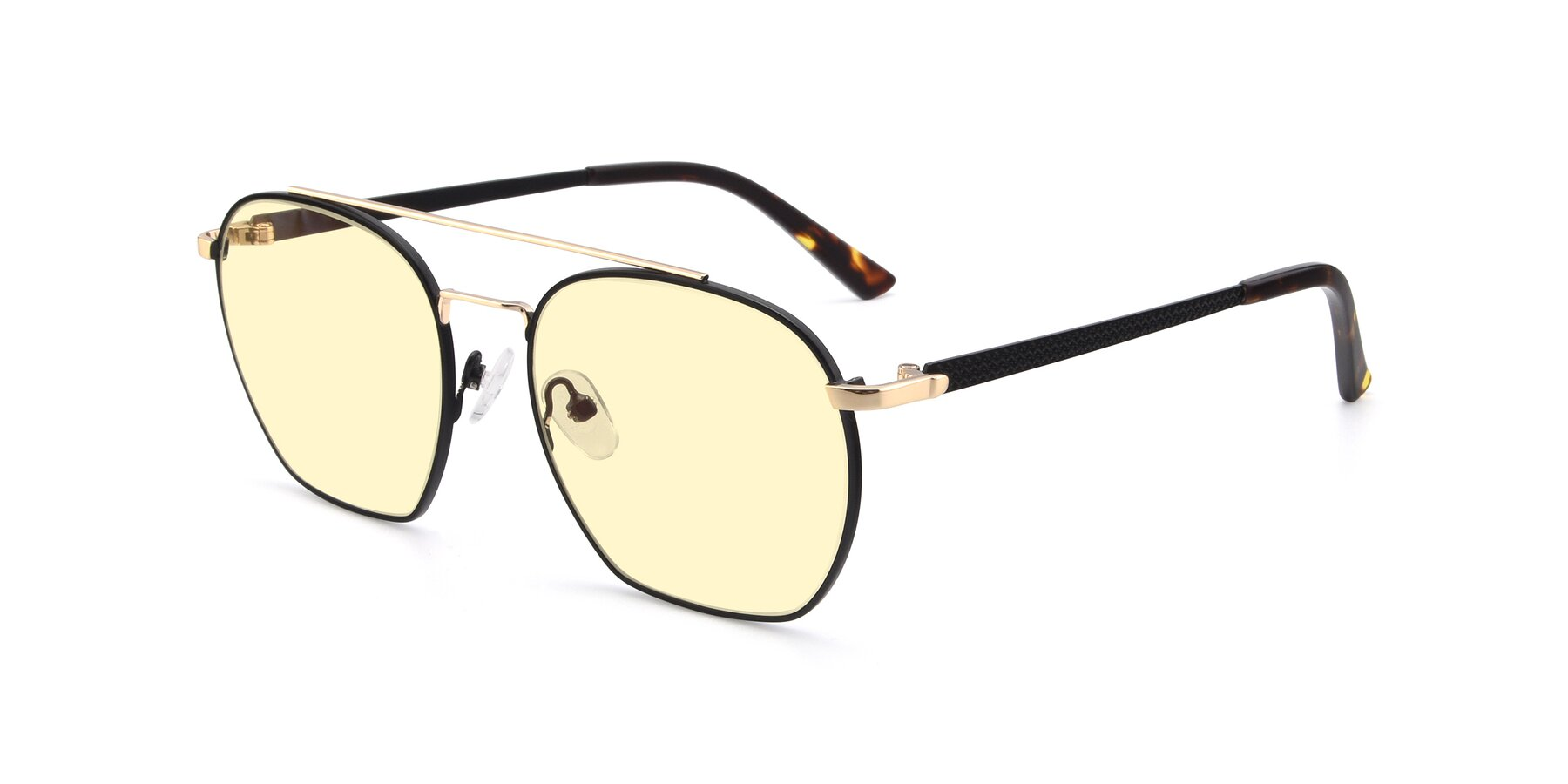 Angle of 9425 in Black-Gold with Light Yellow Tinted Lenses