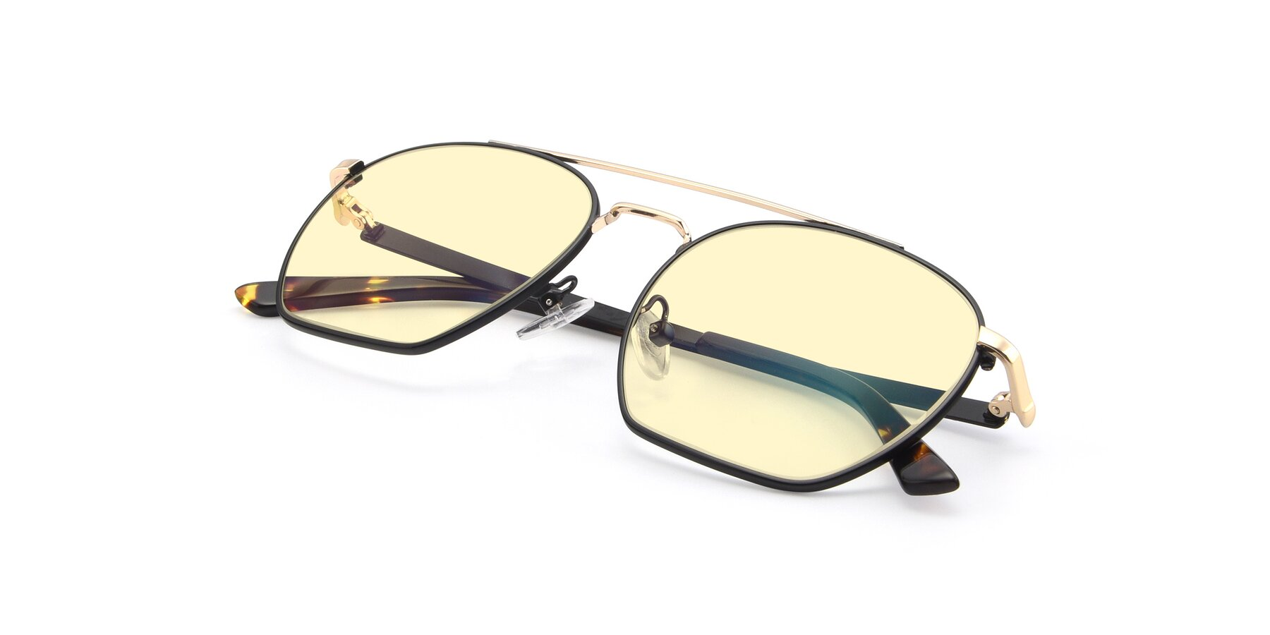View of 9425 in Black-Gold with Light Yellow Tinted Lenses