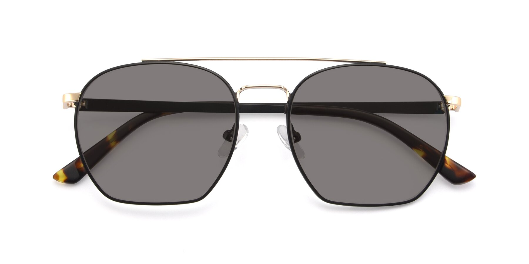Folded Front of 9425 in Black-Gold with Medium Gray Tinted Lenses