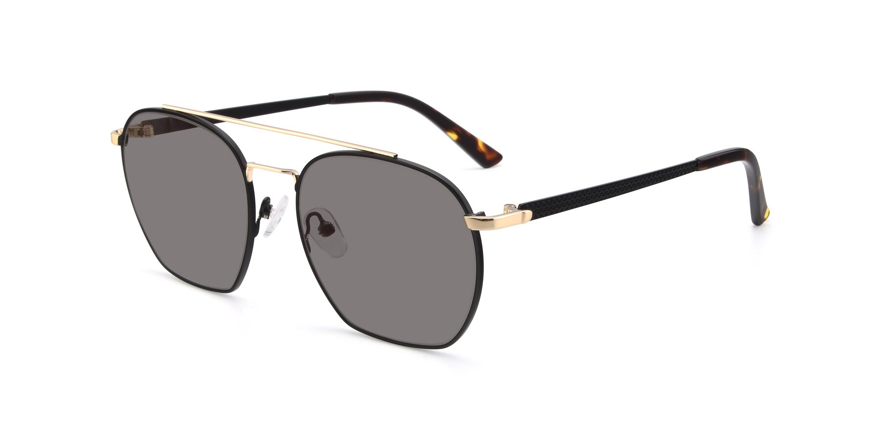 Angle of 9425 in Black-Gold with Medium Gray Tinted Lenses