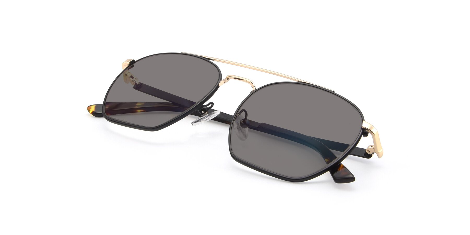 View of 9425 in Black-Gold with Medium Gray Tinted Lenses