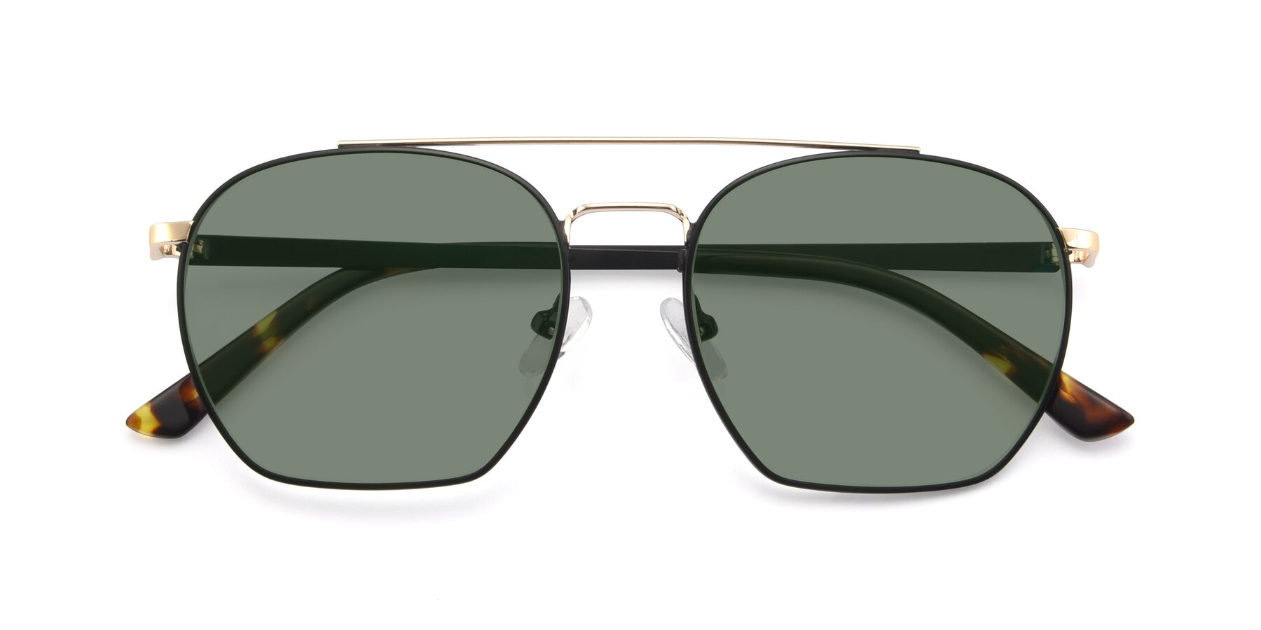 Folded Front of 9425 in Black-Gold with Medium Green Tinted Lenses