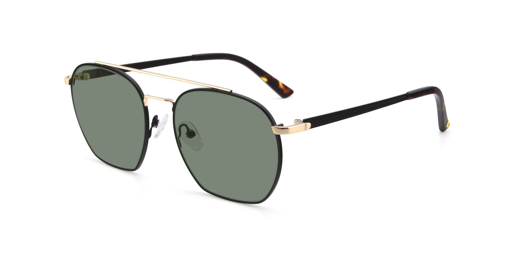 Angle of 9425 in Black-Gold with Medium Green Tinted Lenses